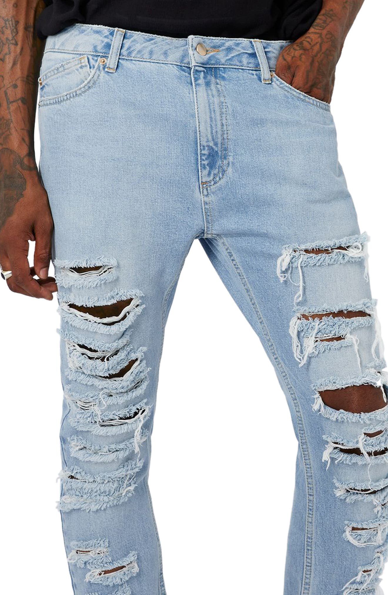 AAA Collection Shredded Skinny Jeans,                             Alternate thumbnail 3, color,                             400