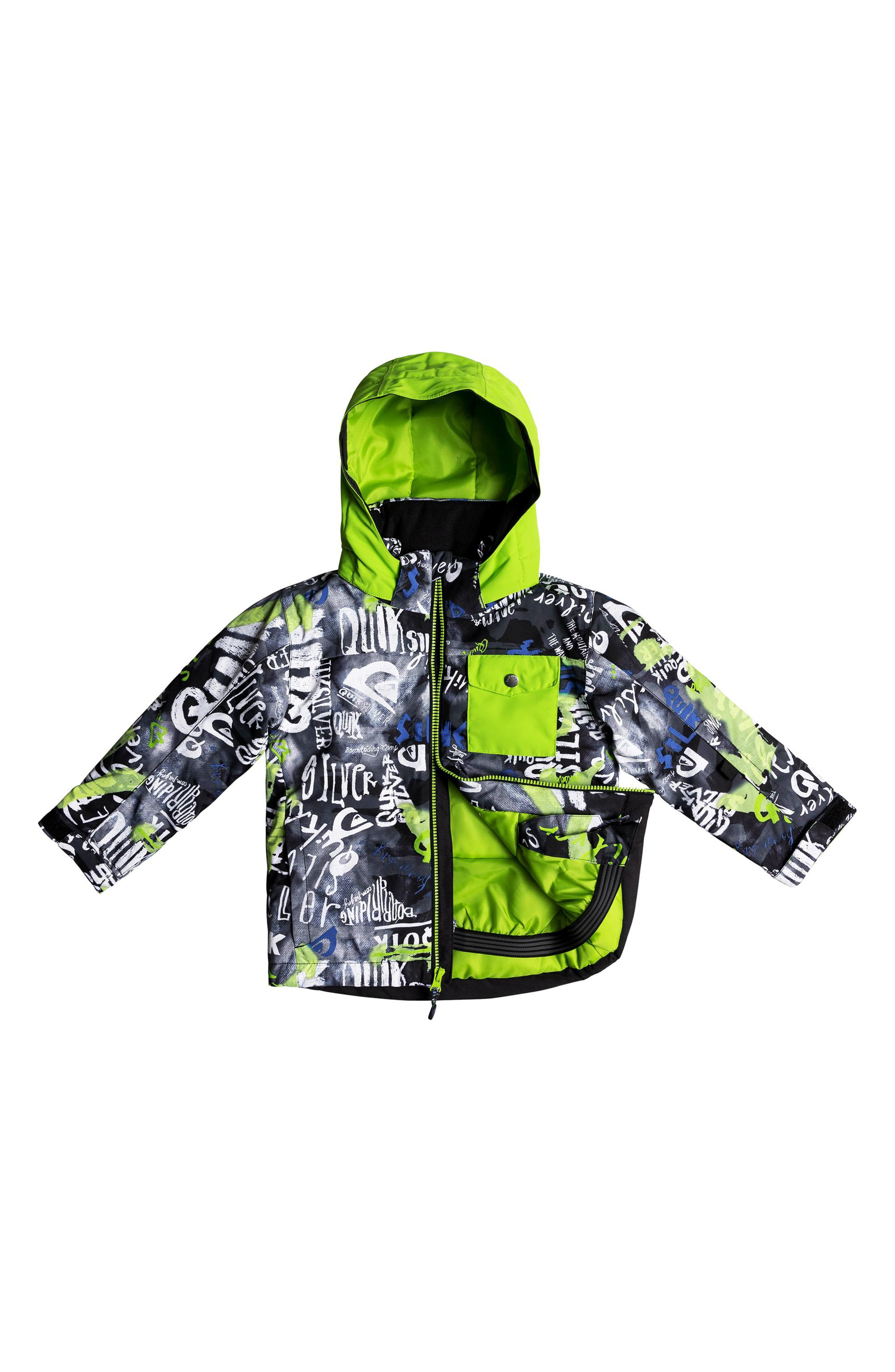Little Mission Waterproof Hooded Jacket,                             Alternate thumbnail 3, color,                             BLACK CONSTRUCT