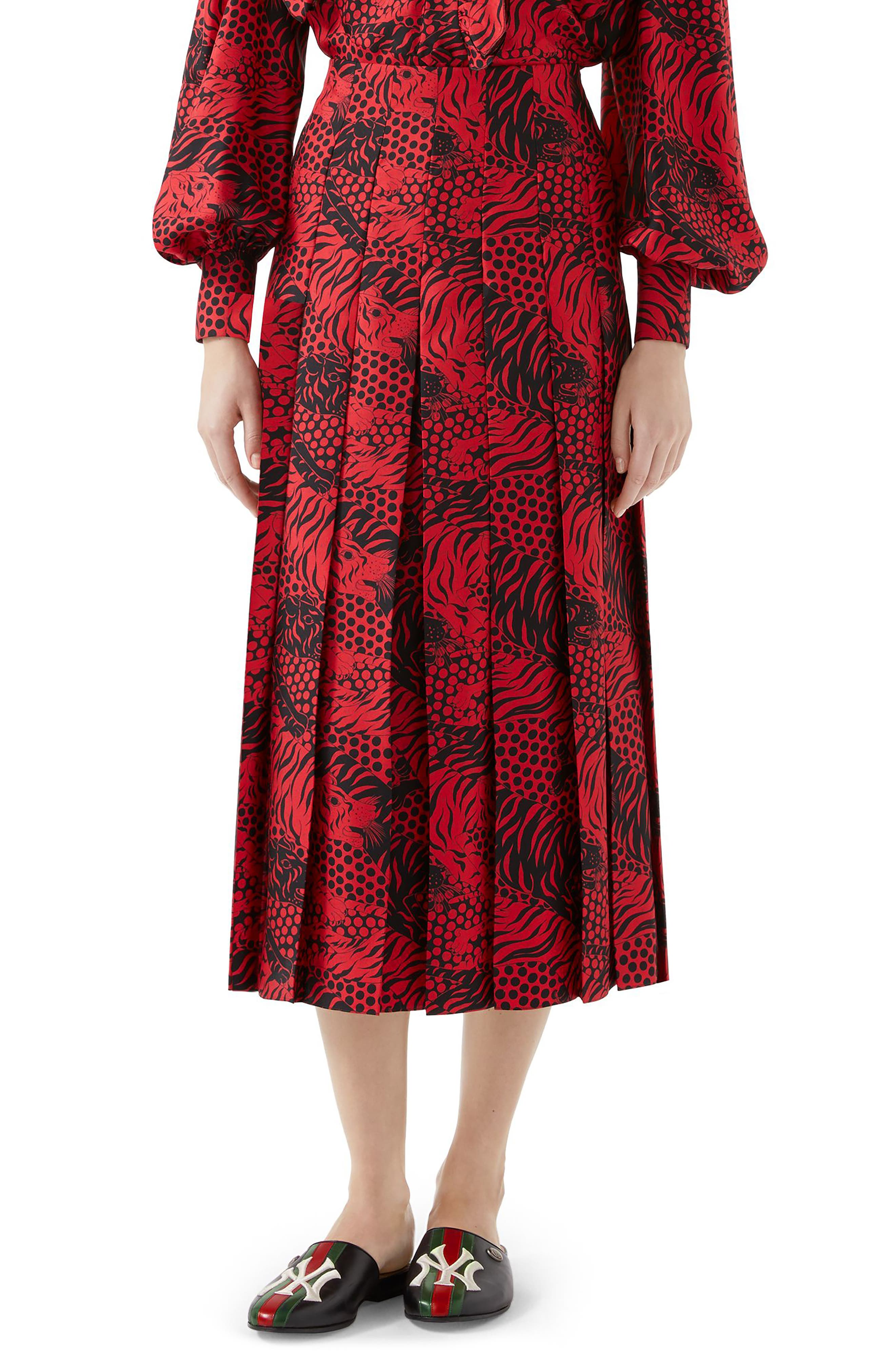 Tiger Print Pleated Silk Skirt, Main, color, RED