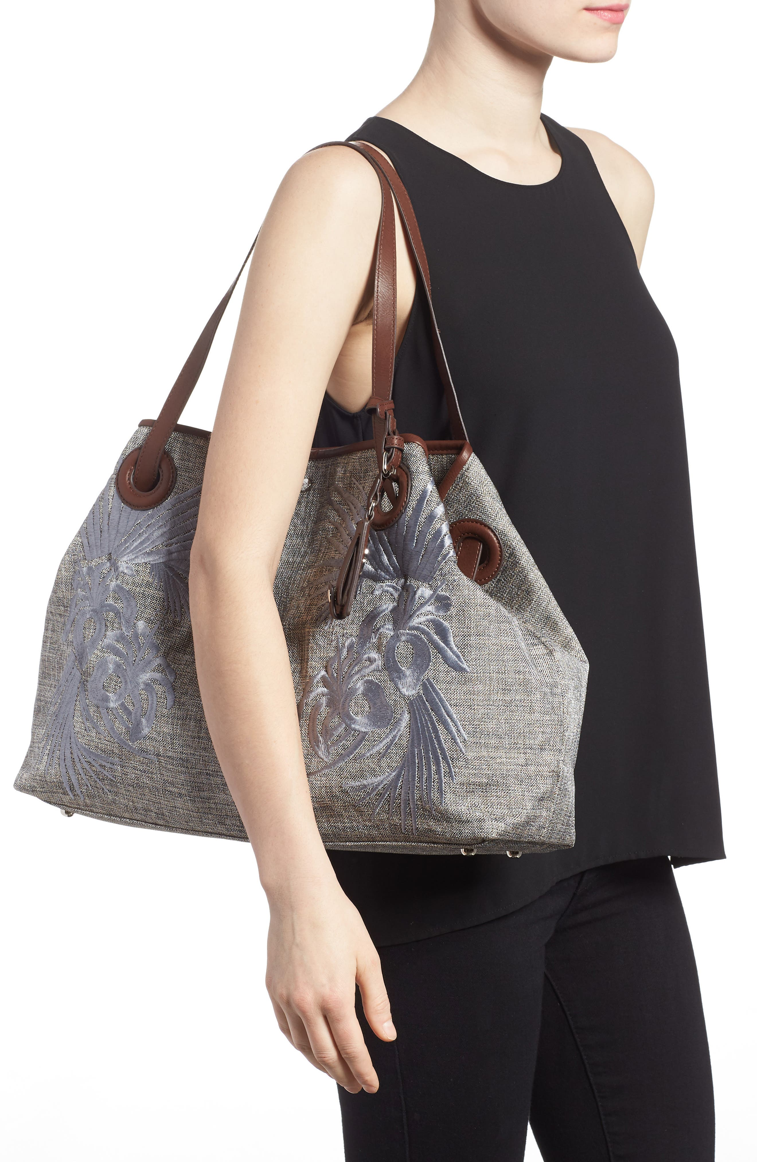 Waikiki Embroidered Canvas Tote,                             Alternate thumbnail 5, color,