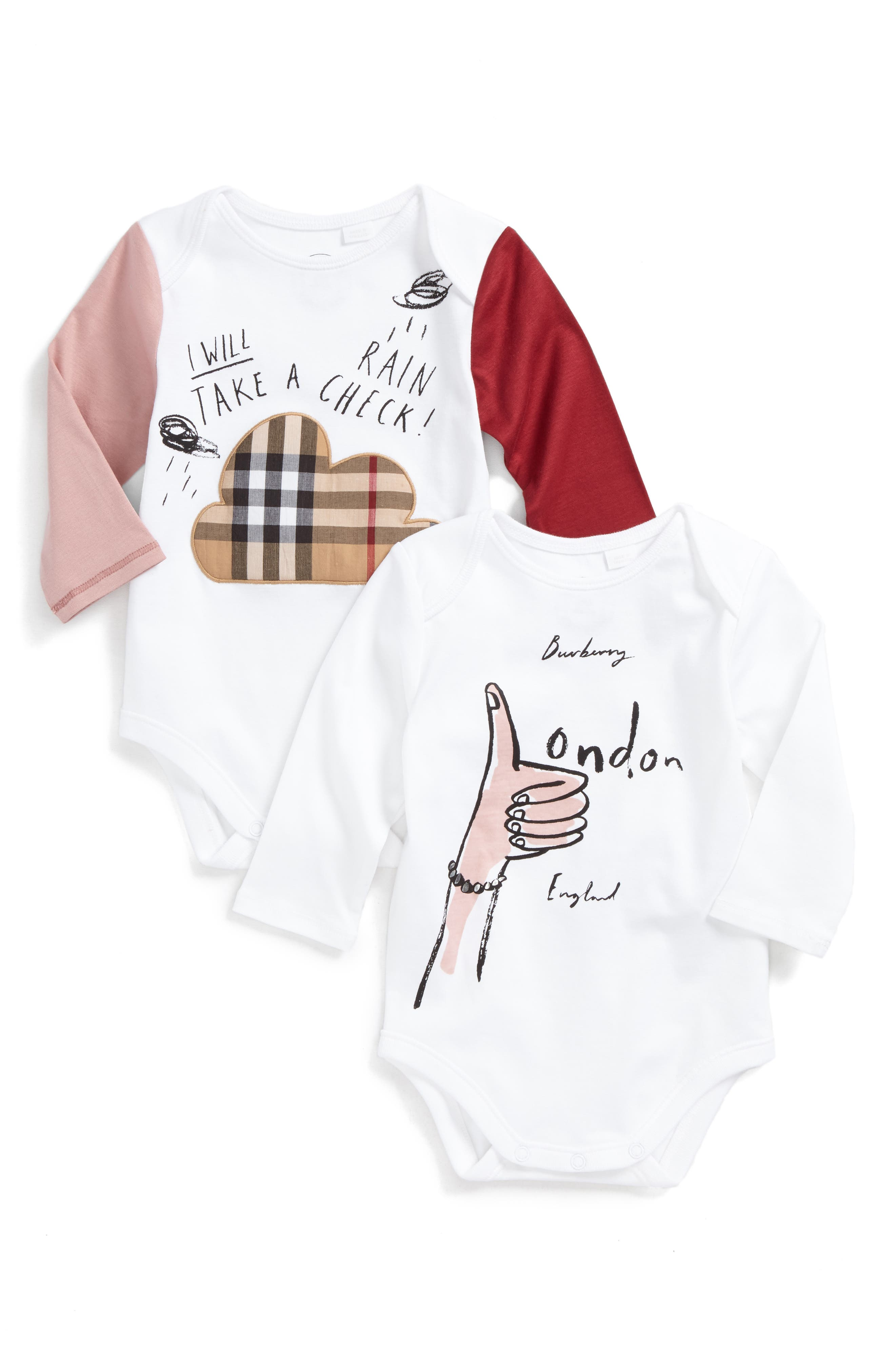 London Girl Set of 2 Bodysuits,                         Main,                         color, 100