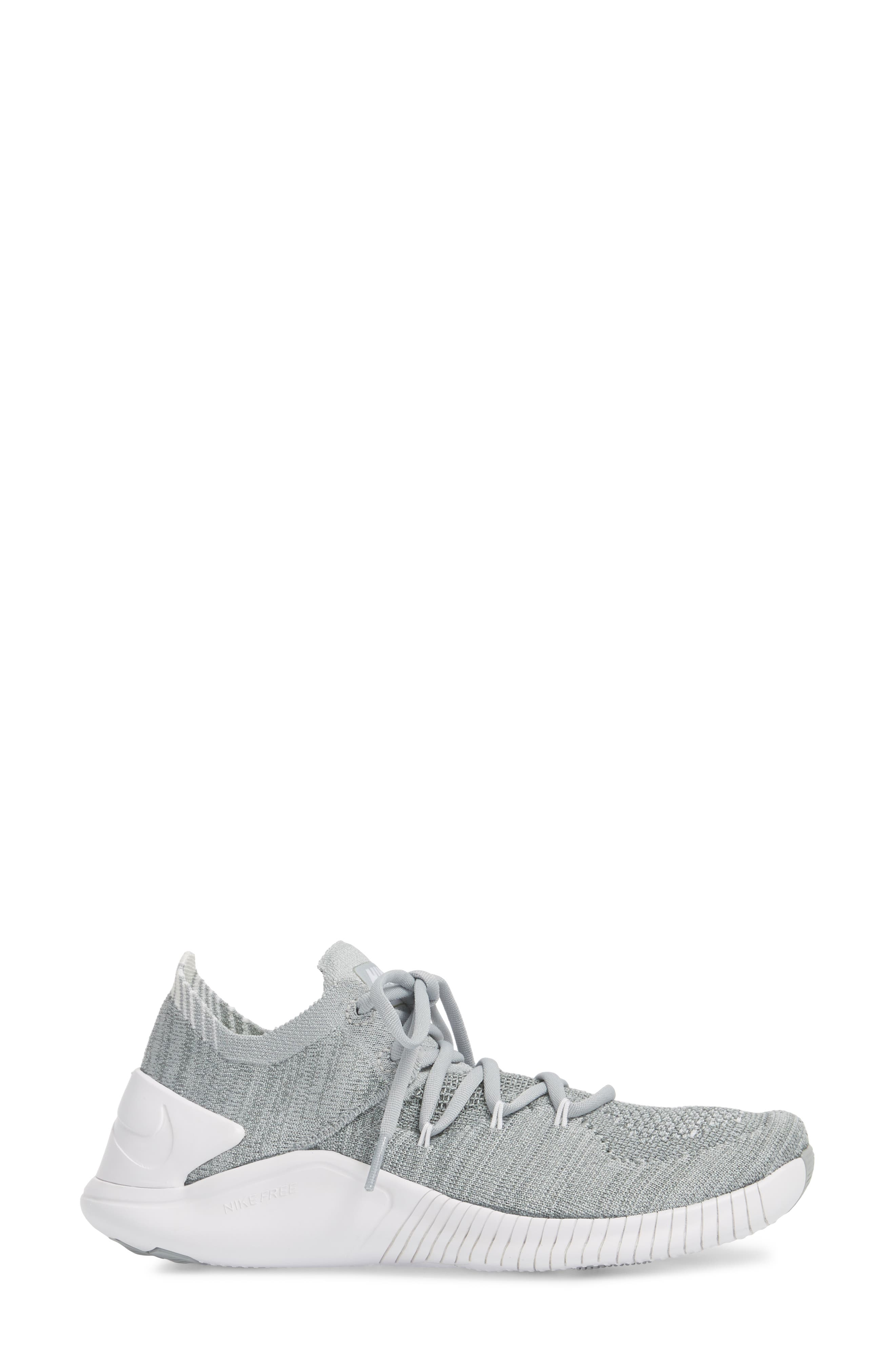 Free TR Flyknit 3 Training Shoe,                             Alternate thumbnail 3, color,                             WOLF GREY/ WHITE