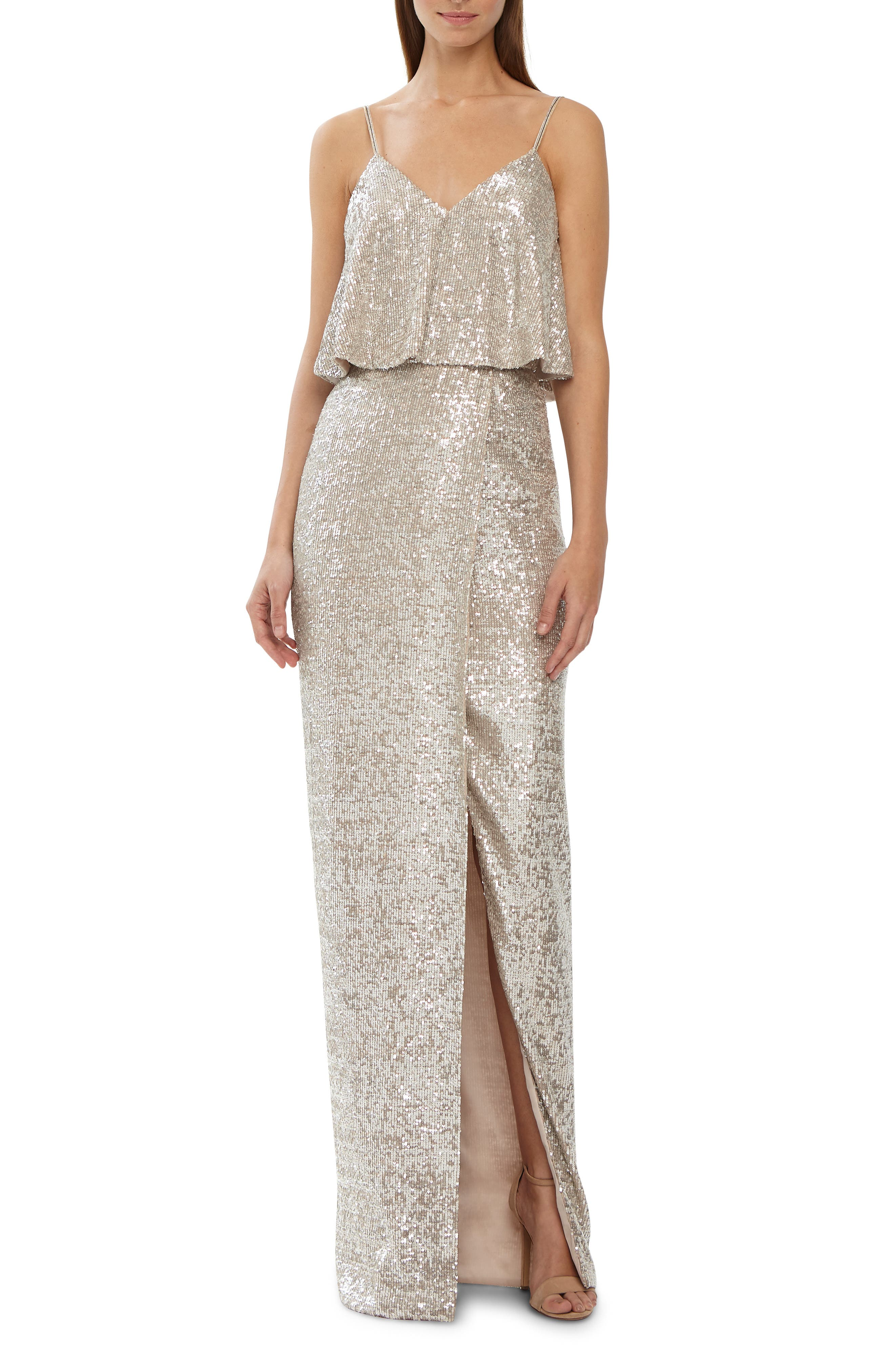 Ml Monique Lhuillier Sequins Front Slit Gown, Metallic