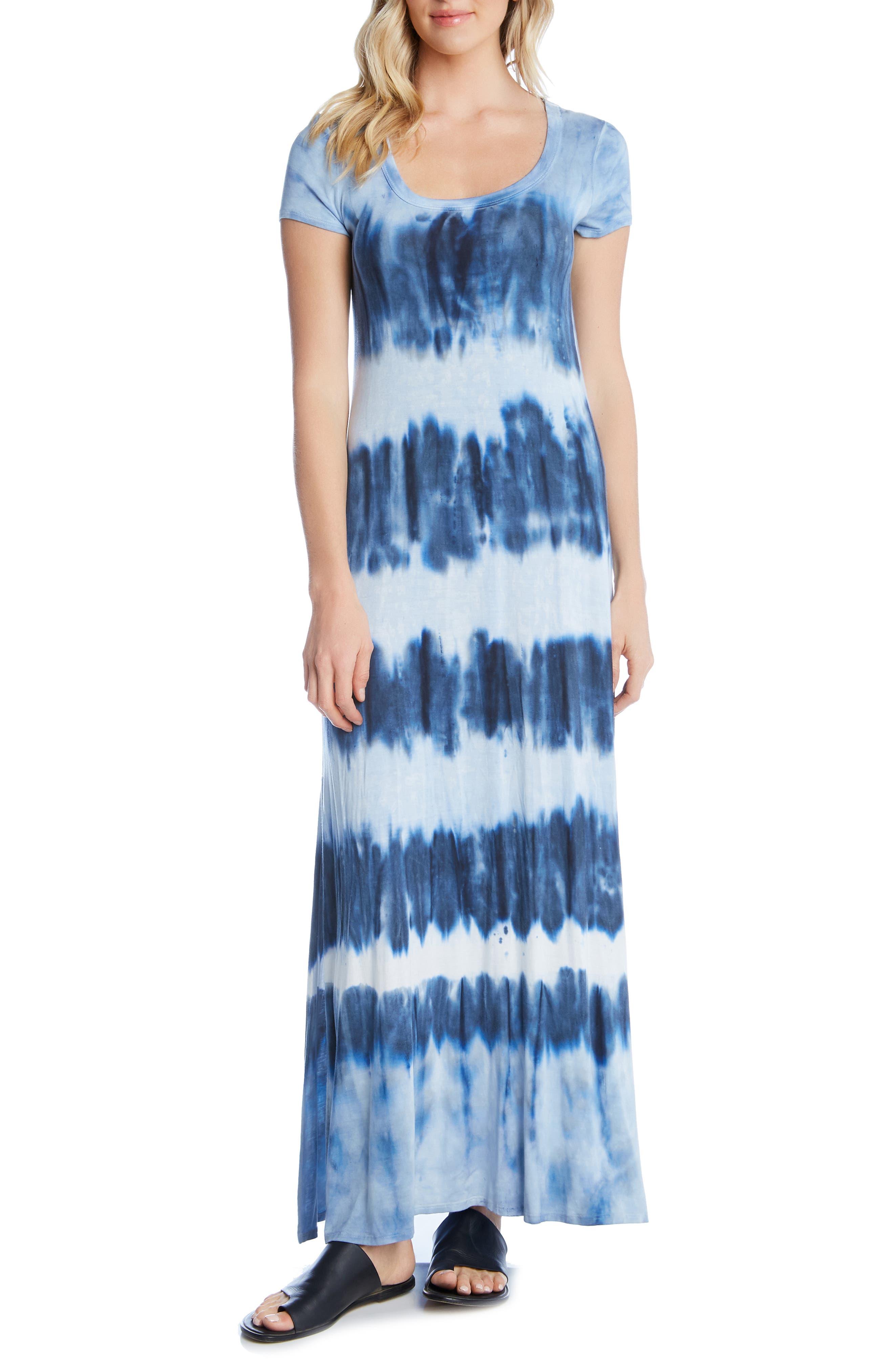 Karen Kane Tie-Dye Maxi Dress, Blue