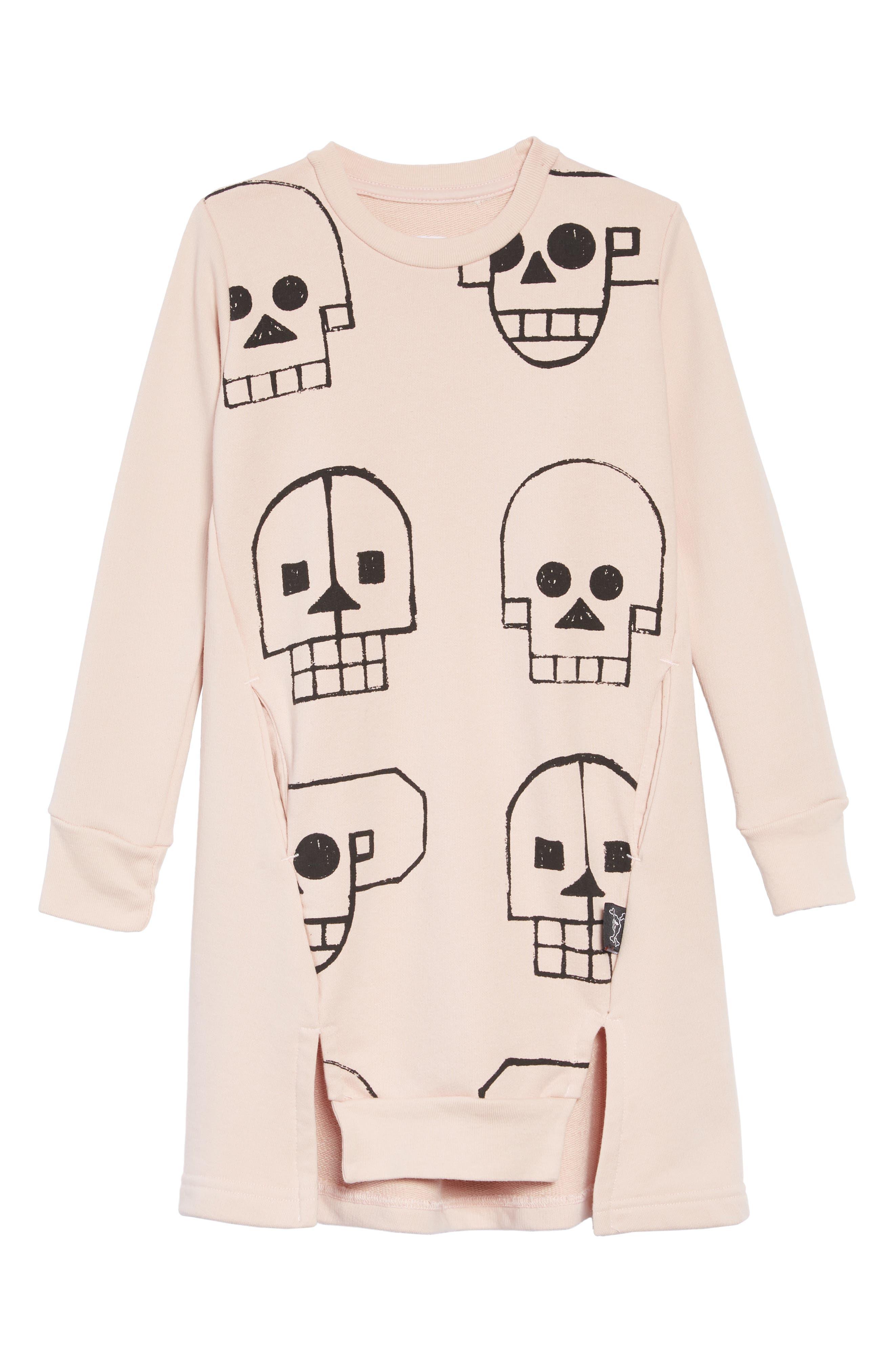 Skull Robot Sweatshirt Dress,                             Main thumbnail 1, color,                             POWDER PINK