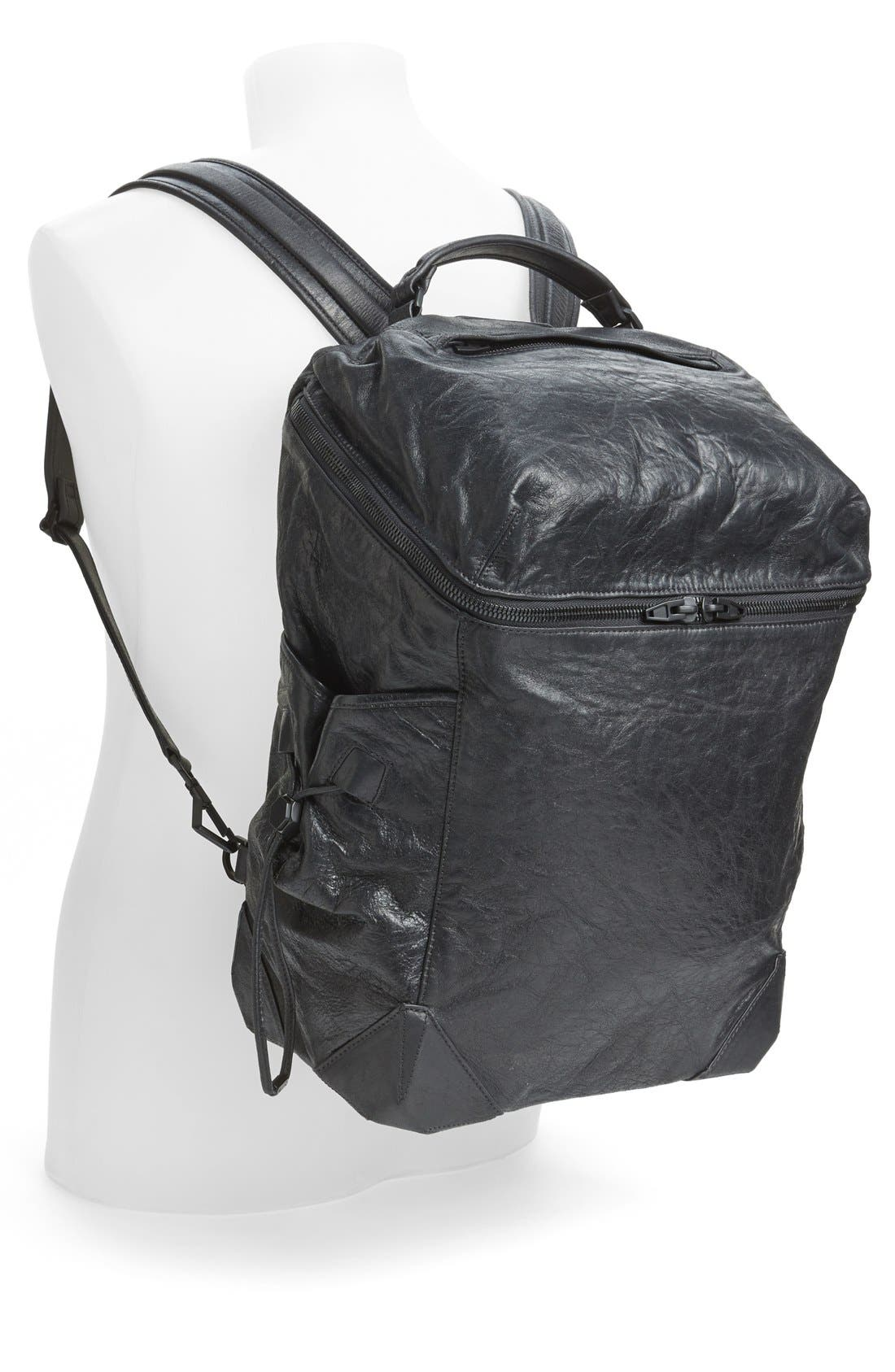 'Wallie' Leather Backpack,                             Alternate thumbnail 4, color,                             001