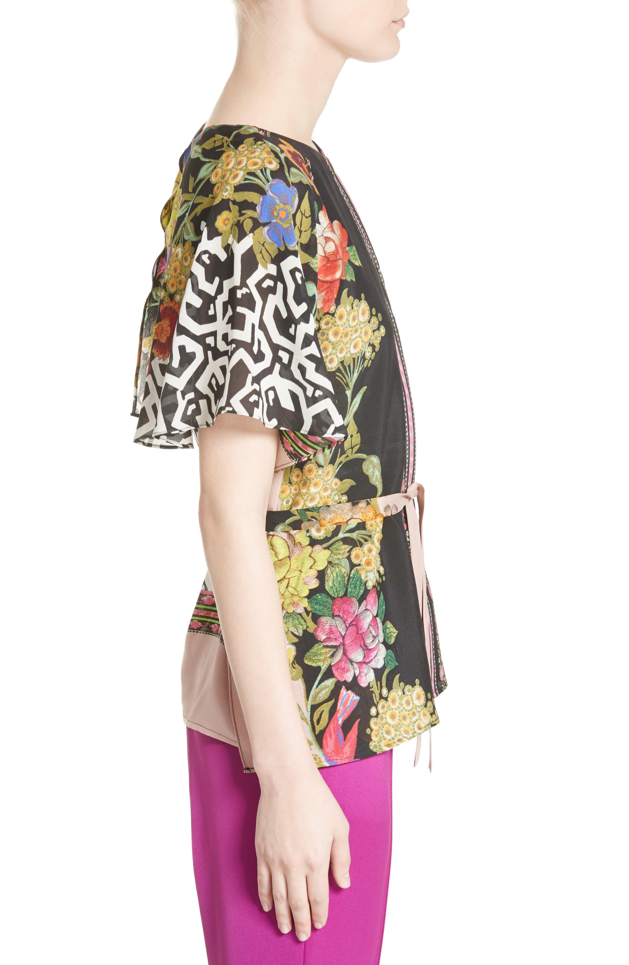 Floral & Maze Print Silk Blouse,                             Alternate thumbnail 3, color,                             650