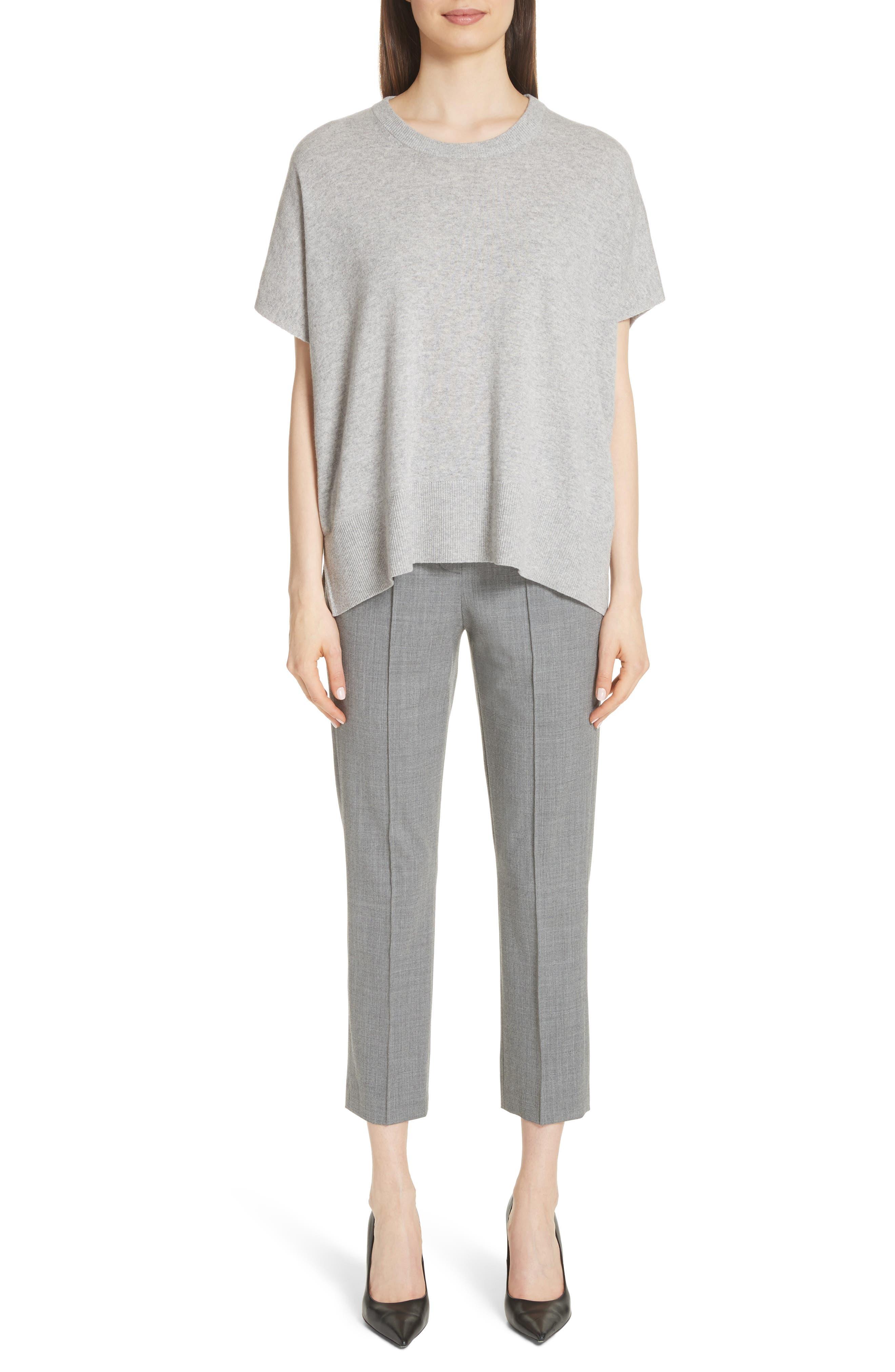 Cashmere Draped Pullover,                             Alternate thumbnail 8, color,                             PEARL GREY MELANGE