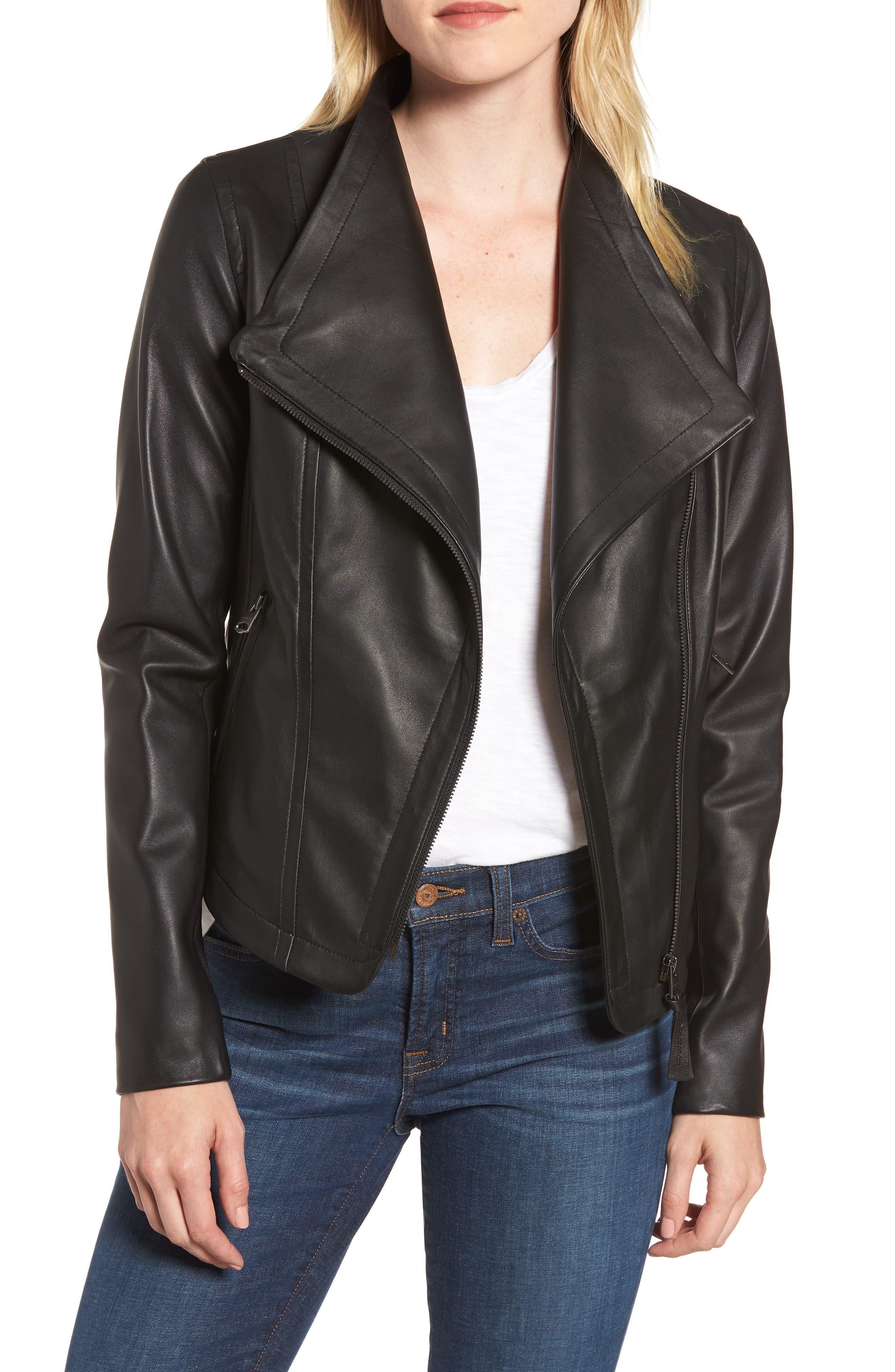 MACKAGE Pina-L Leather Moto Jacket, Main, color, 001