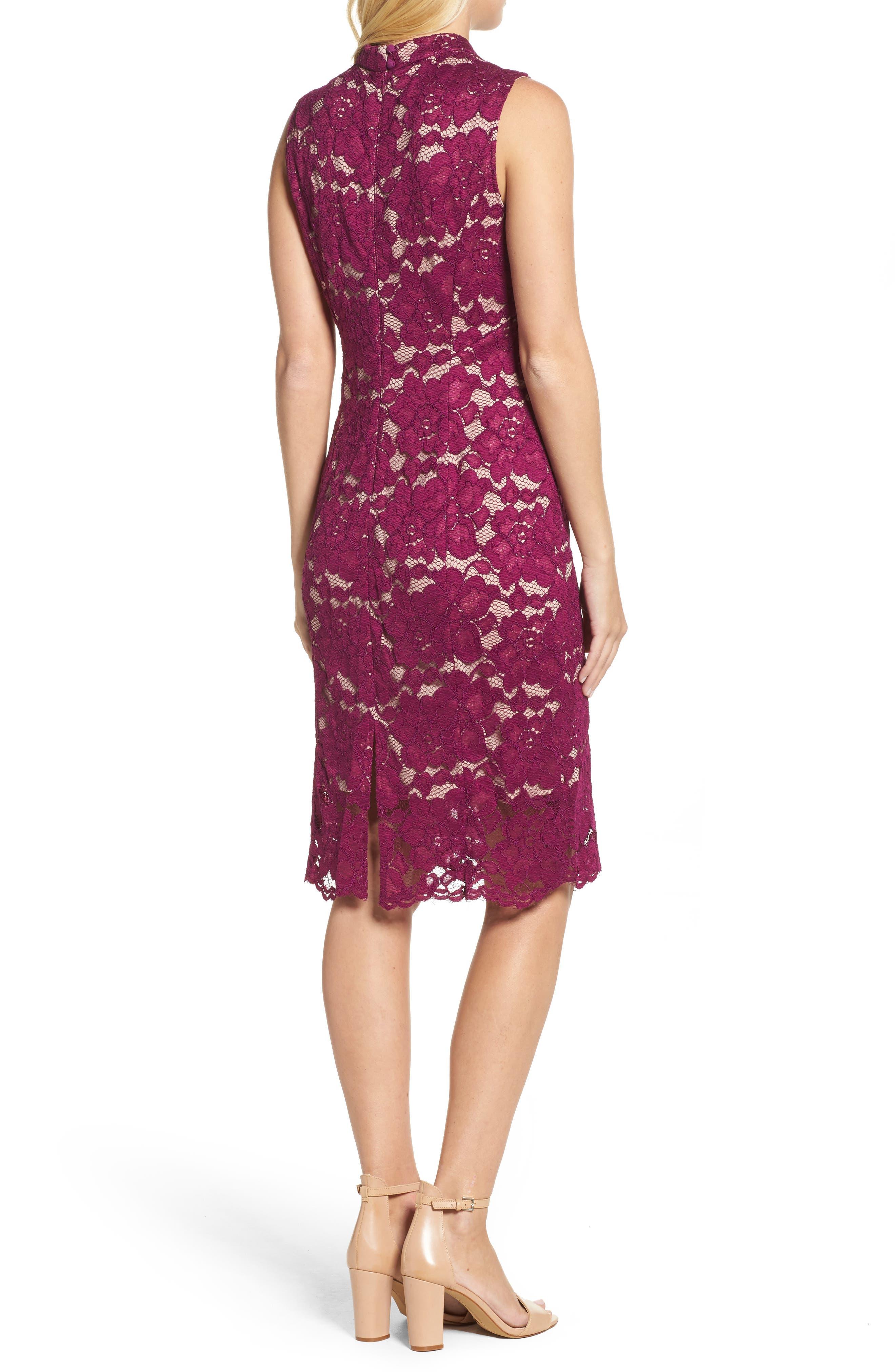 Twin Flower Lace Sheath Dress,                             Alternate thumbnail 2, color,