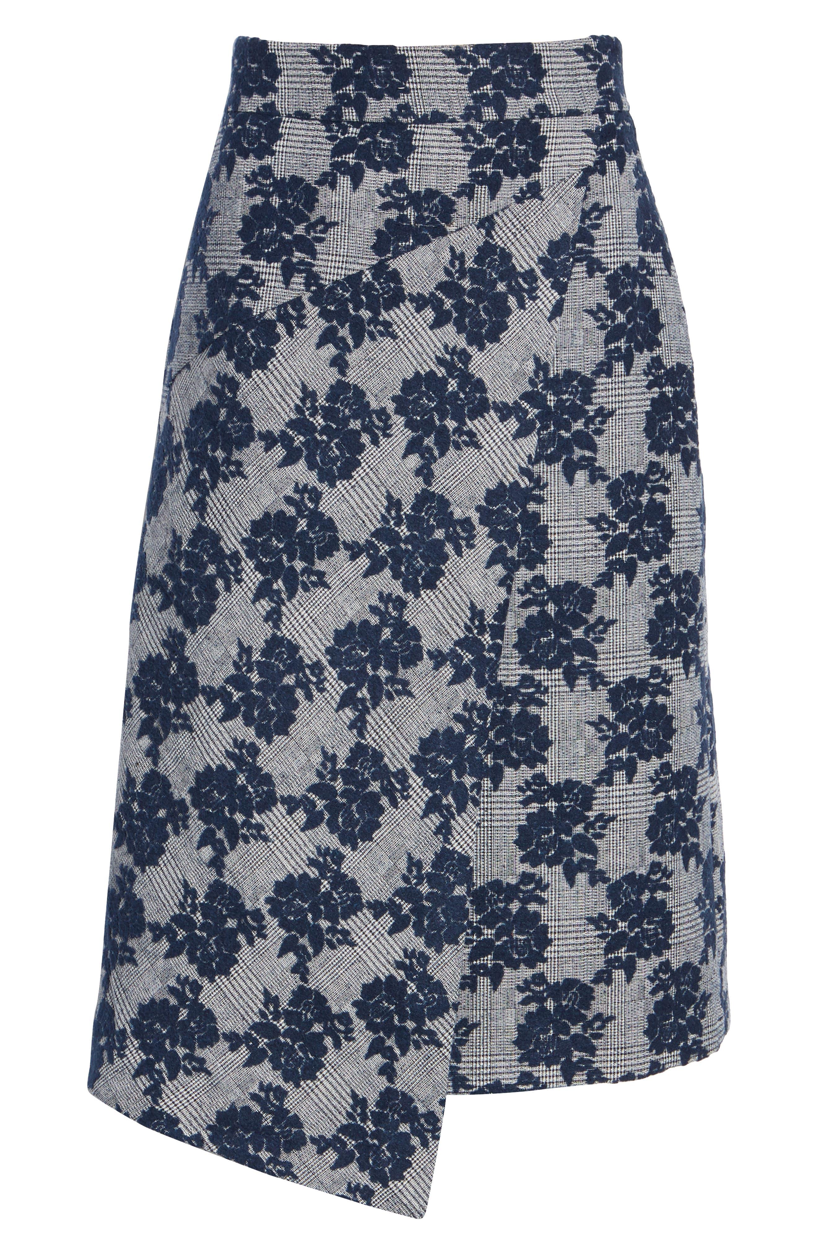 Floral Plaid Asymmetrical Skirt,                             Alternate thumbnail 6, color,                             BLUE PLAID FLORAL