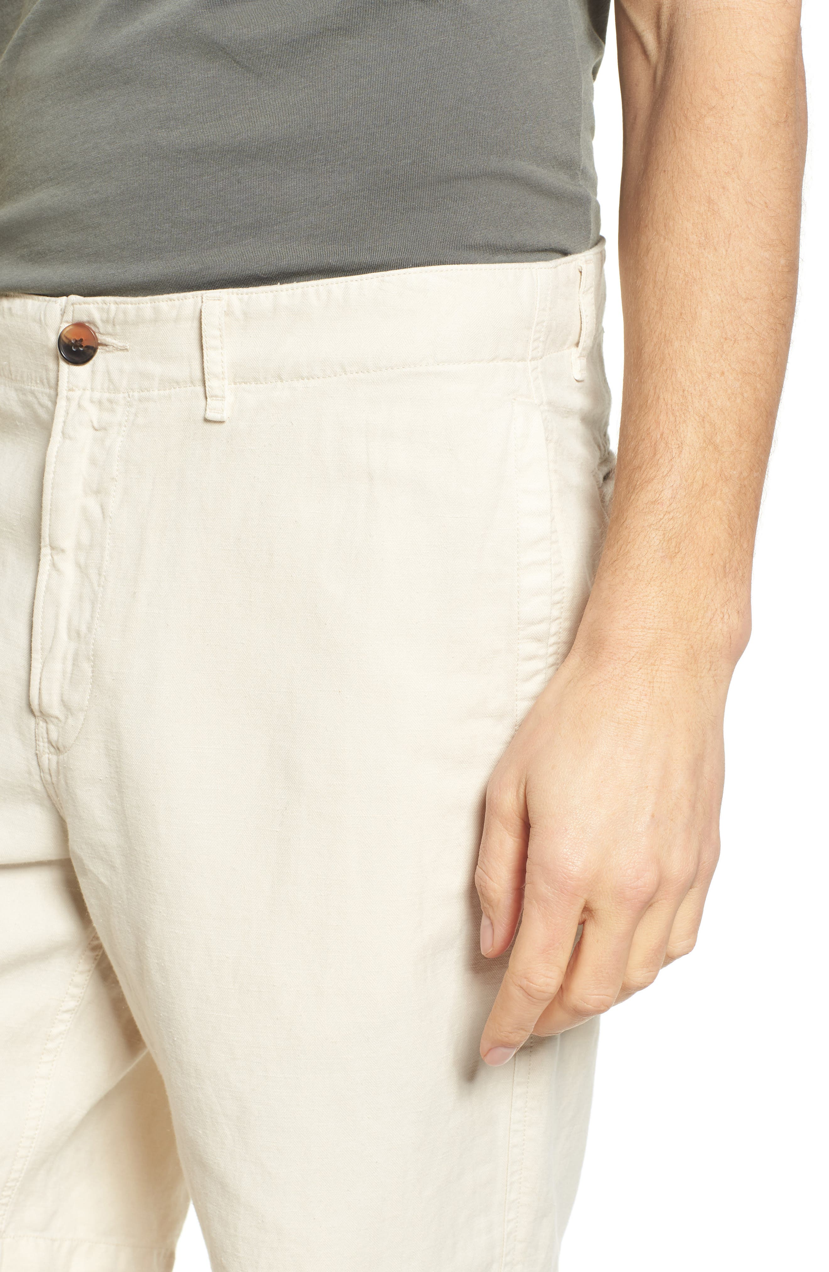 Clyde Cotton & Linen Shorts,                             Alternate thumbnail 4, color,                             EGGSHELL