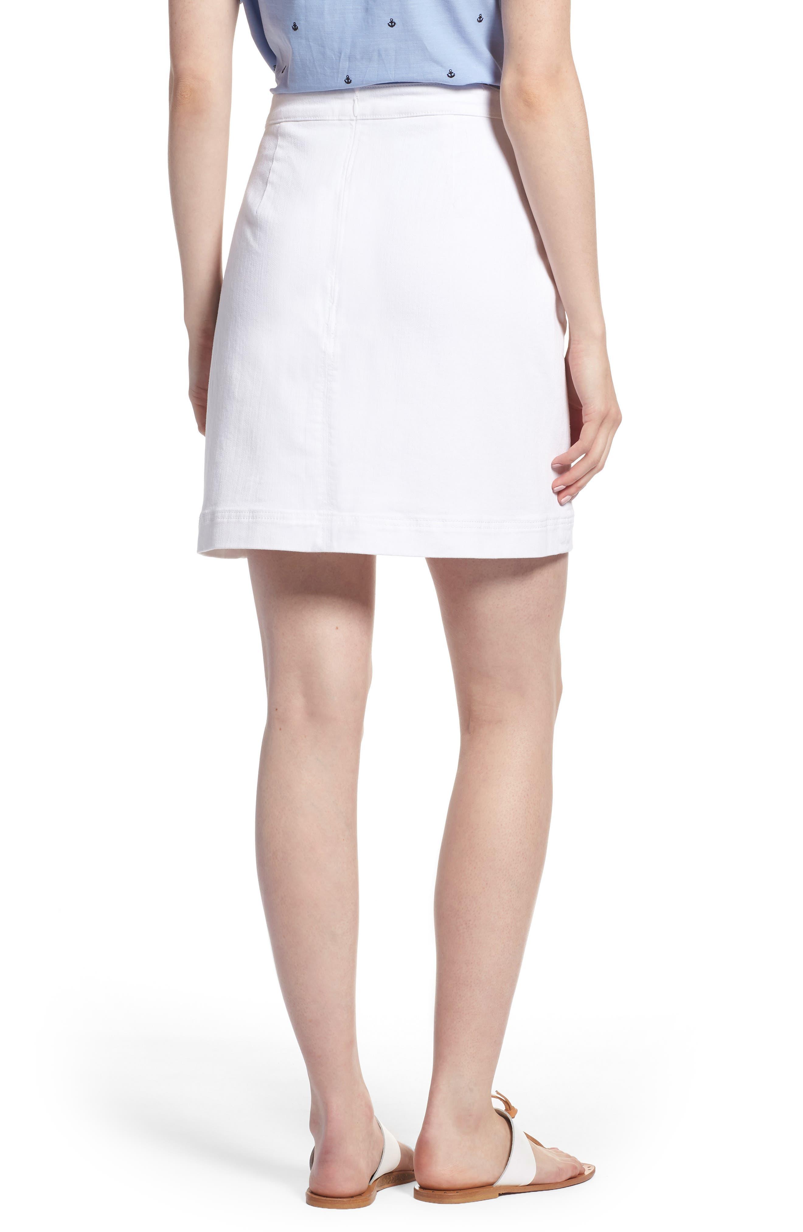 Button Detail Denim Skirt,                             Alternate thumbnail 2, color,                             100