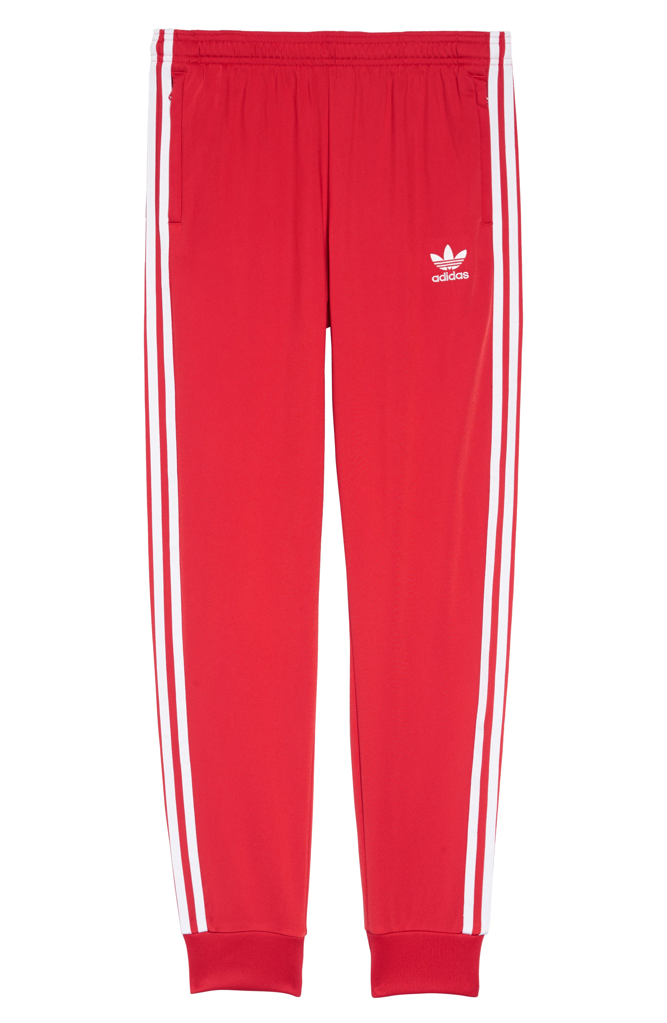 Superstar Track Pants,                         Main,                         color, COLLEGIATE RED/ WHITE