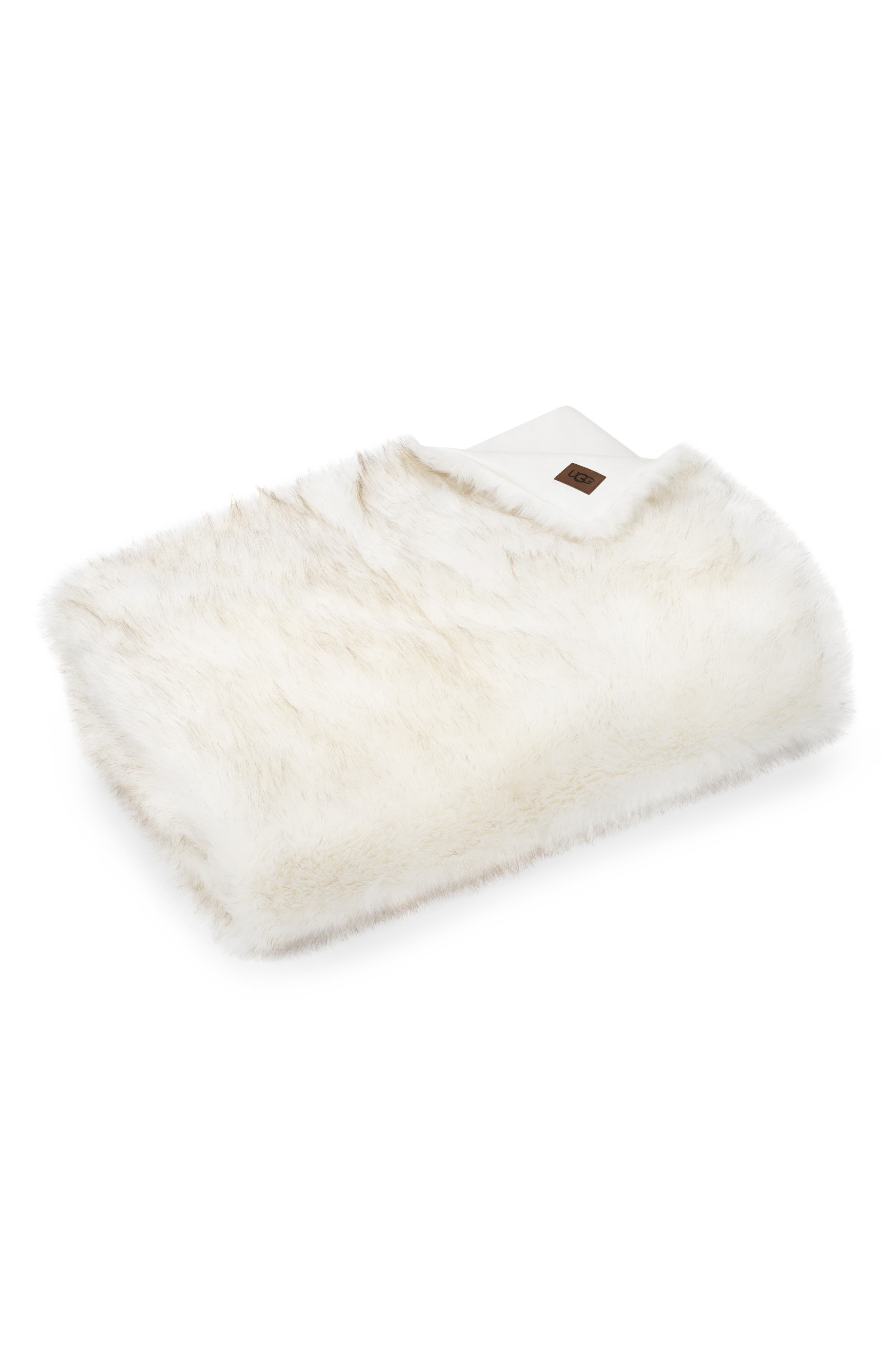 UGG<SUP>®</SUP> Blizzard Faux Fur Blanket, Main, color, NATURAL