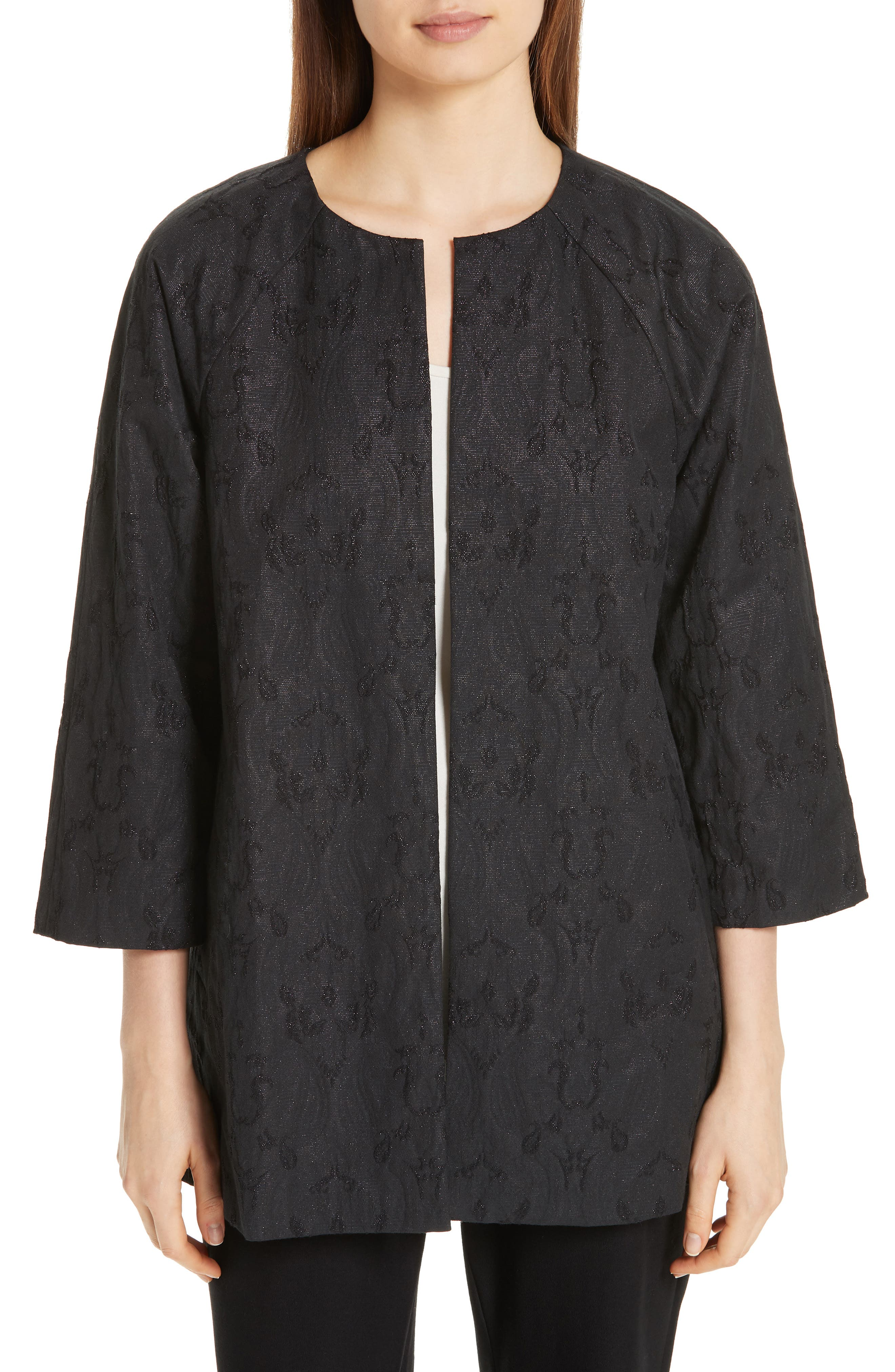 EILEEN FISHER, Metallic Jacquard Collarless Jacket, Main thumbnail 1, color, BLACK