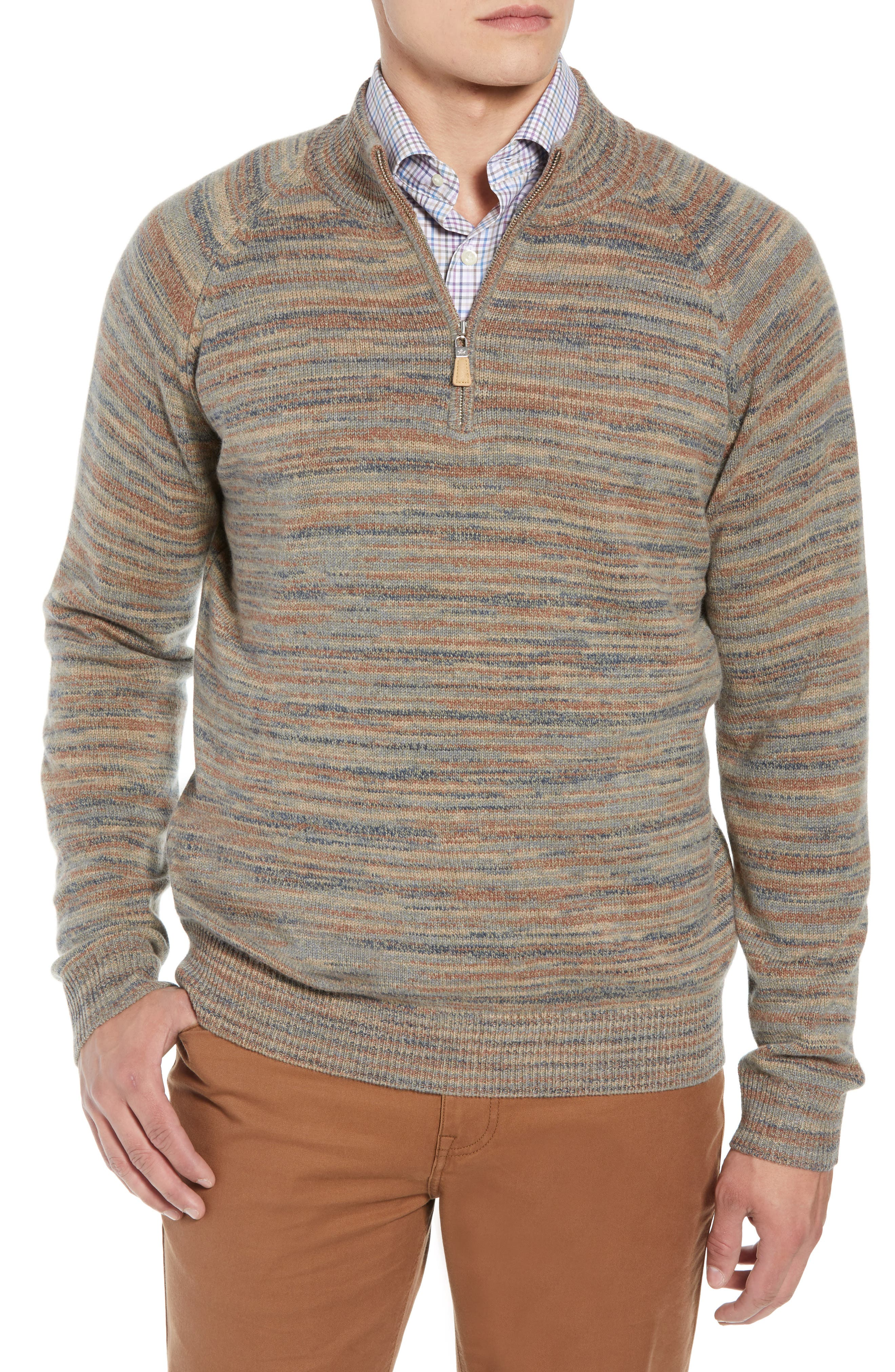 Twisted Cashmere Quarter Zip Sweater,                         Main,                         color, BEIGE