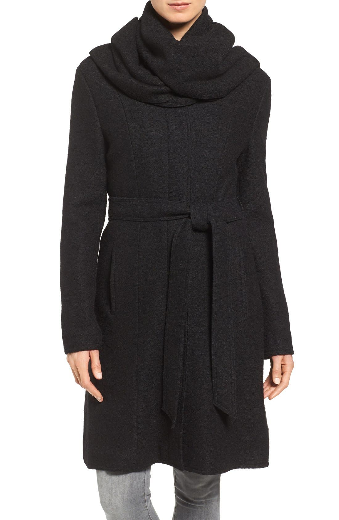 Belted Scarf Front Coat,                             Main thumbnail 1, color,