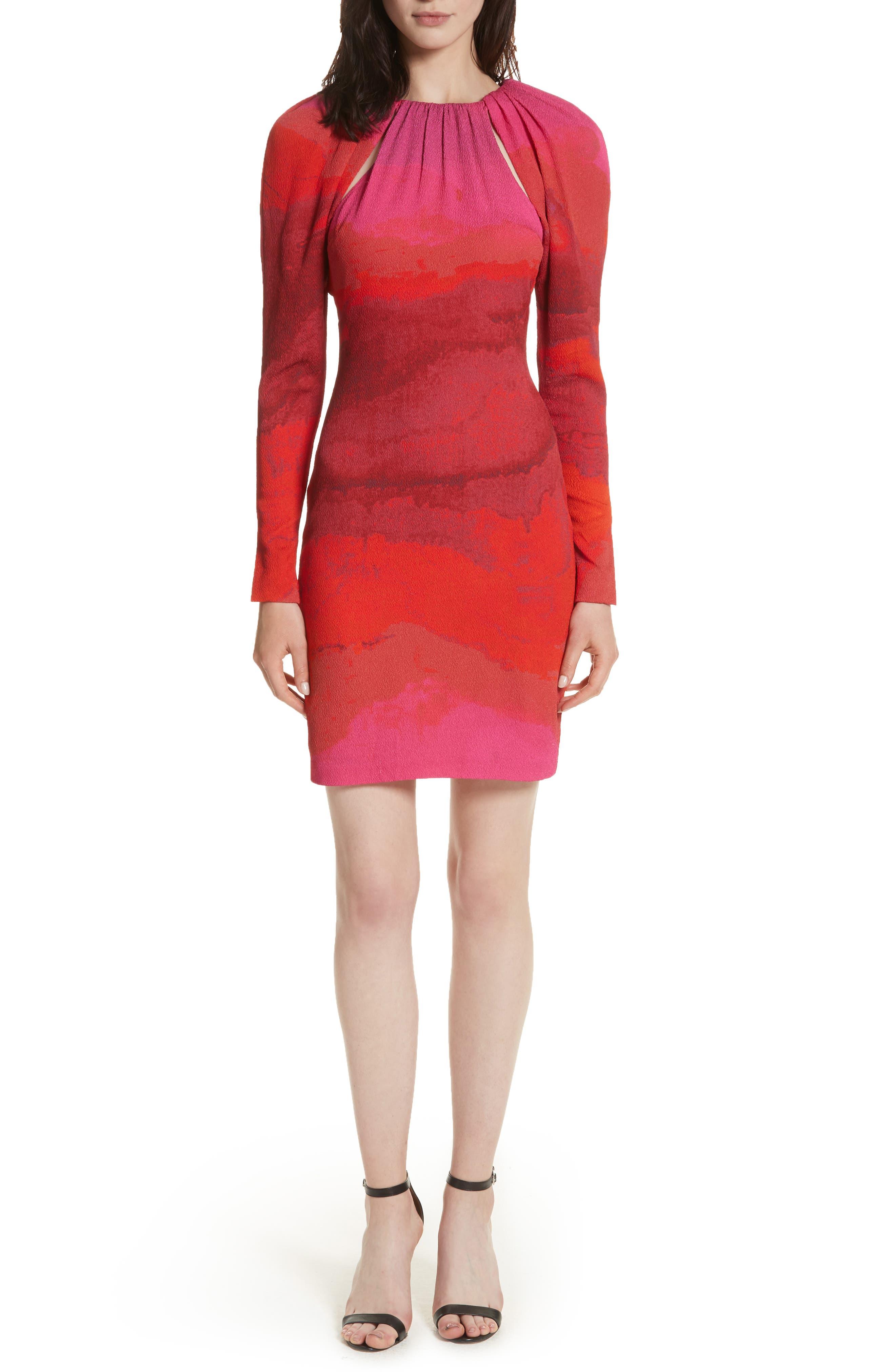 Abstract Print Stretch Silk Sheath Dress,                             Main thumbnail 1, color,                             605