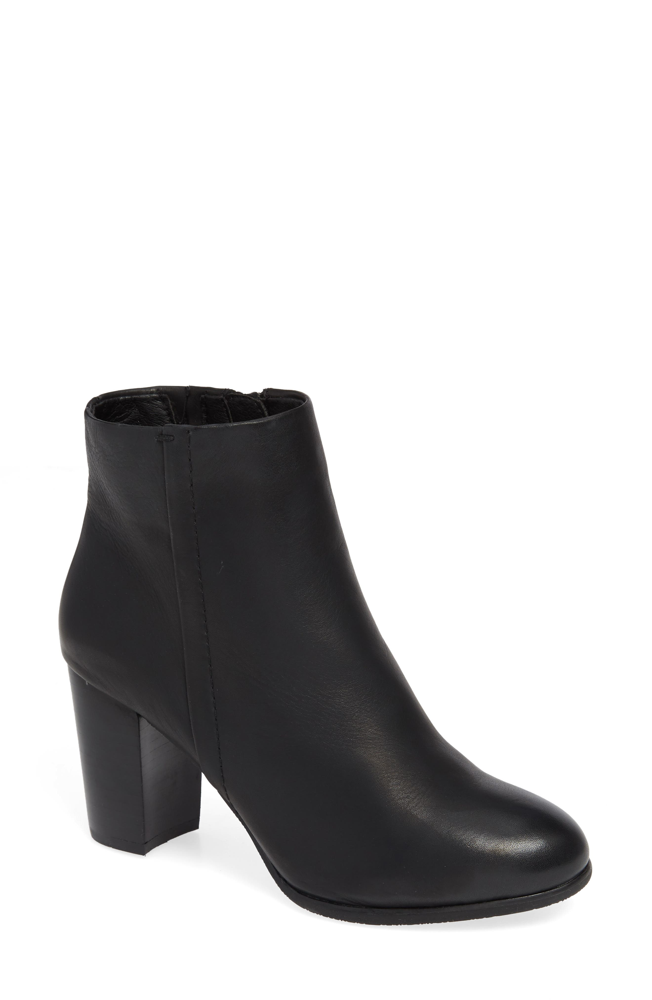 VIONIC,                             Kennedy Ankle Bootie,                             Main thumbnail 1, color,                             BLACK LEATHER
