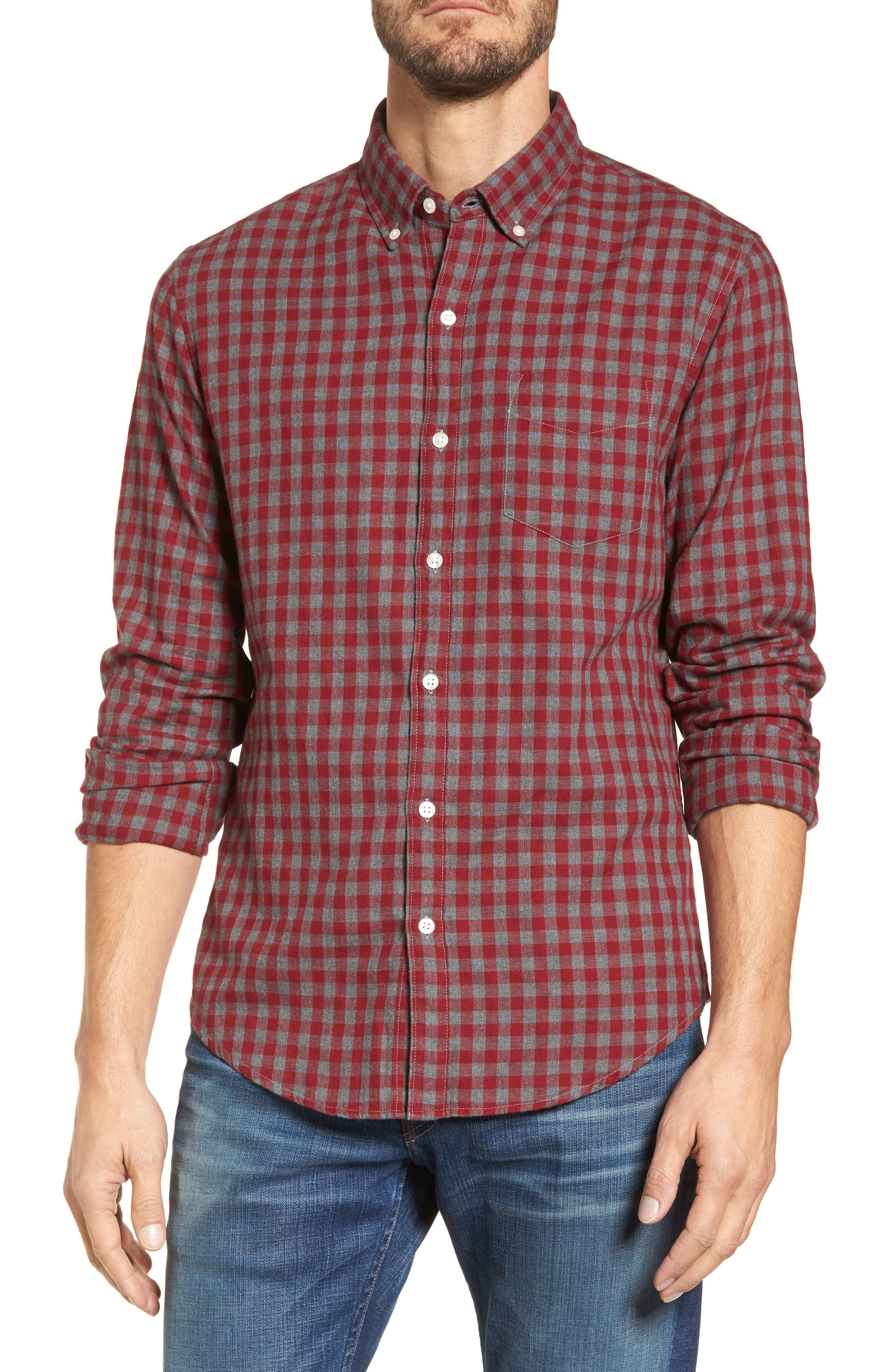 Slim Fit Washed Check Herringbone Sport Shirt,                         Main,                         color, 600