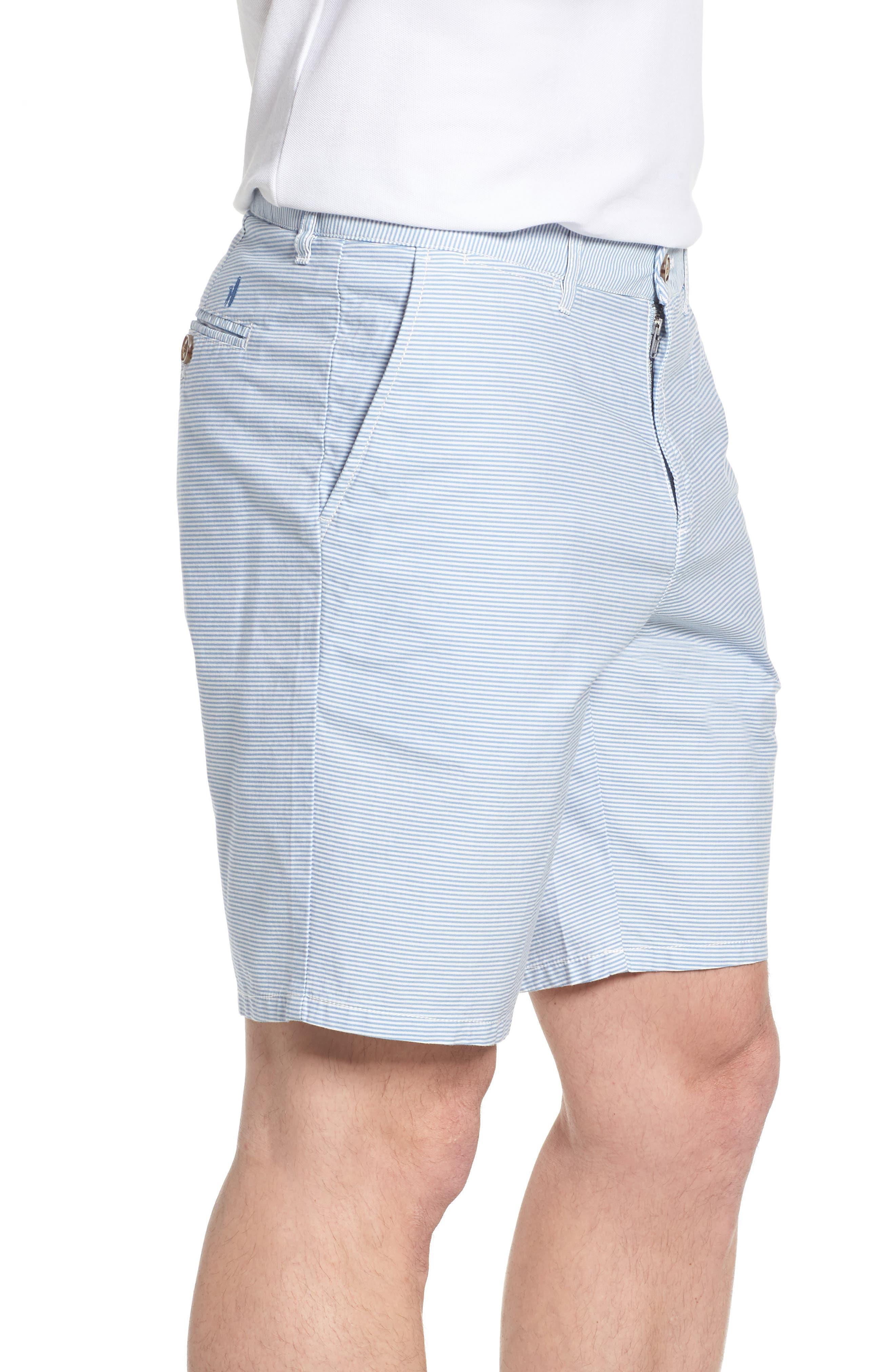 Geordy Regular Fit Pinstripe Shorts,                             Alternate thumbnail 3, color,                             400