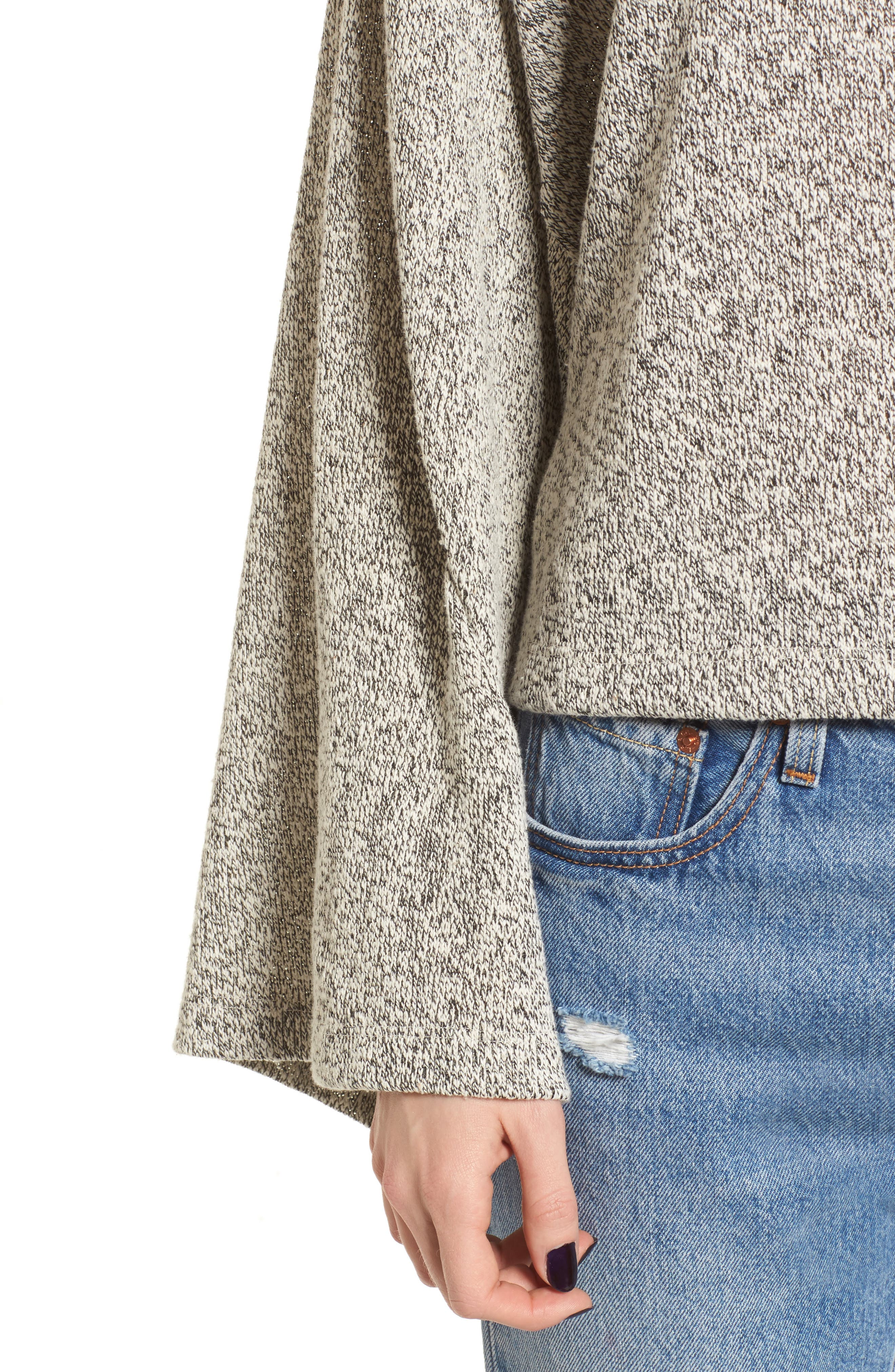 Marled Bell Sleeve Sweater,                             Alternate thumbnail 4, color,                             020