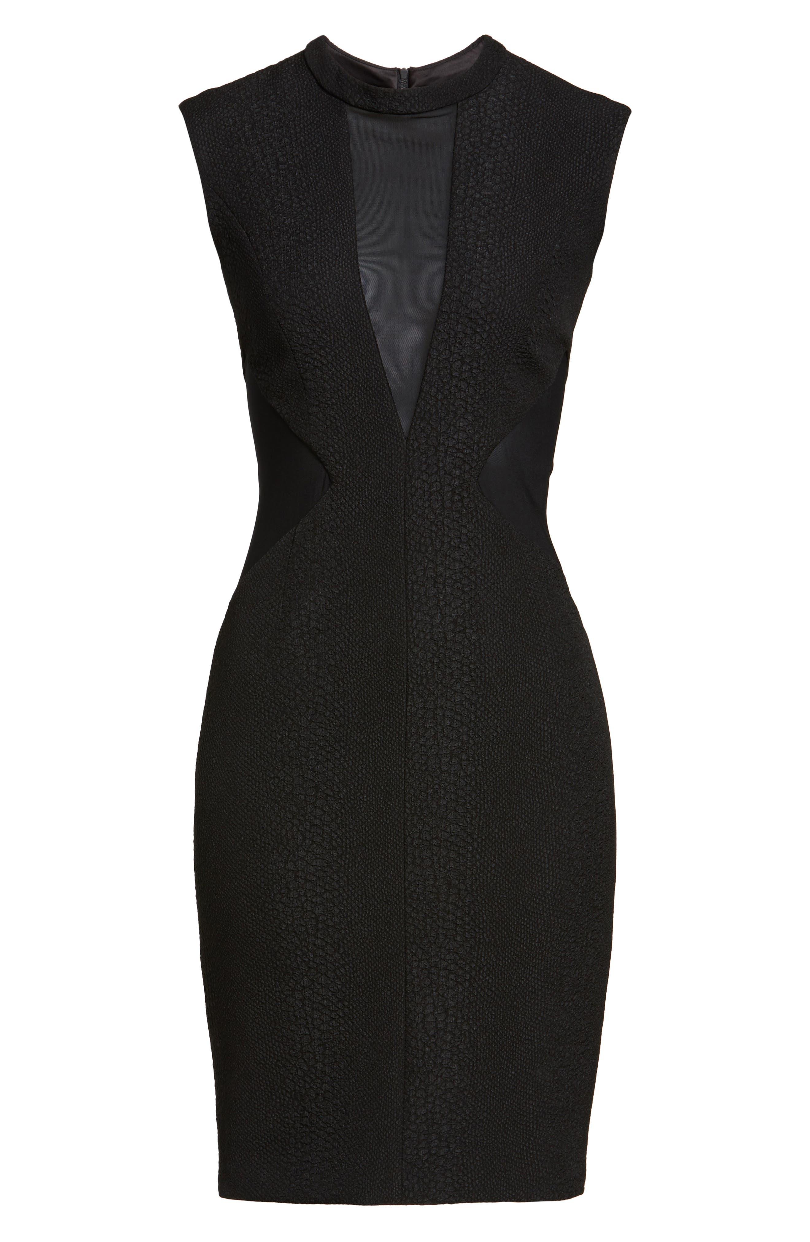 Croc Texture Panel Dress,                             Alternate thumbnail 6, color,                             001