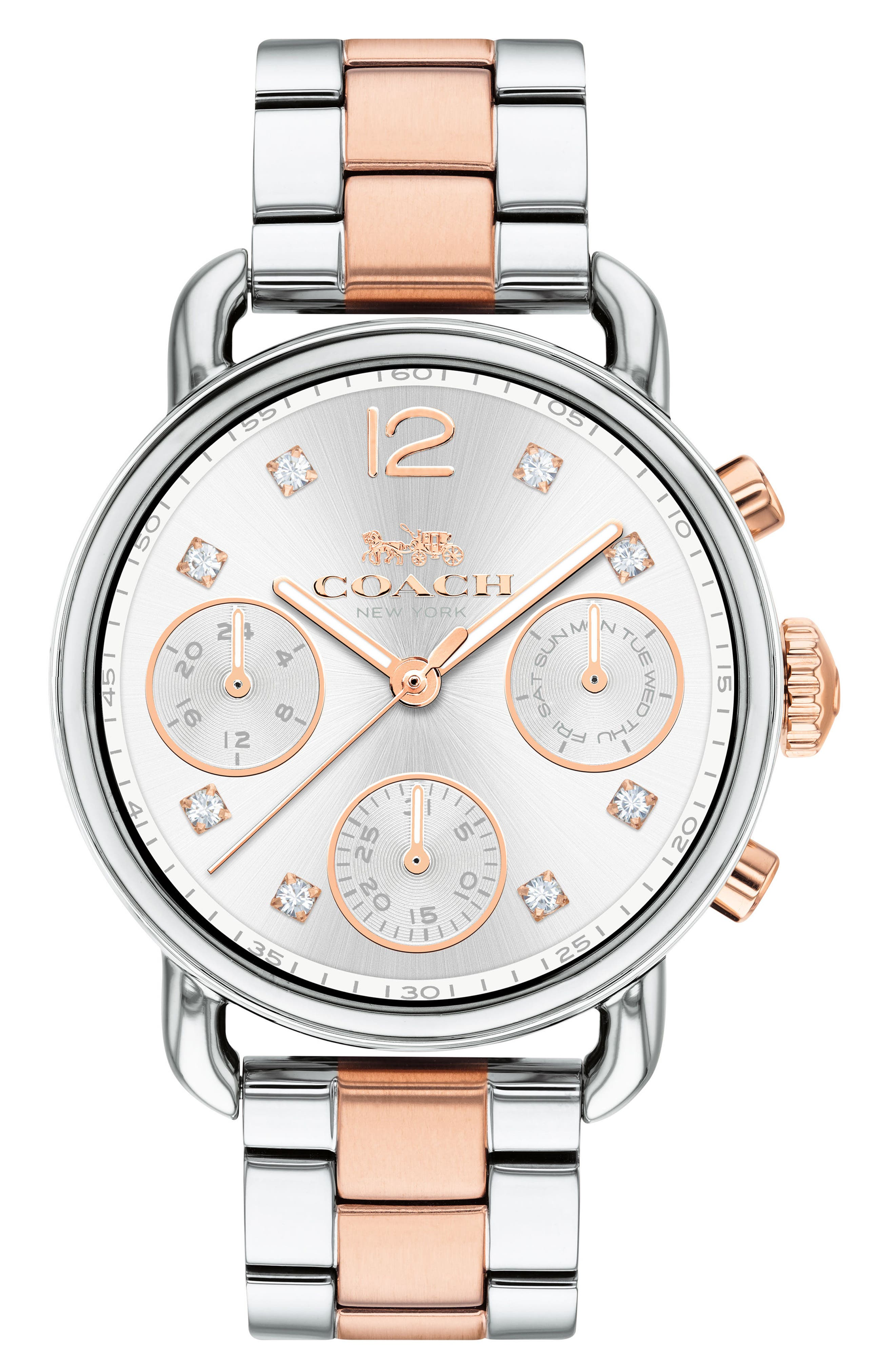 Delancey Chronograph Crystal Accent Bracelet Watch, 36mm,                         Main,                         color, SILVER/ ROSE GOLD