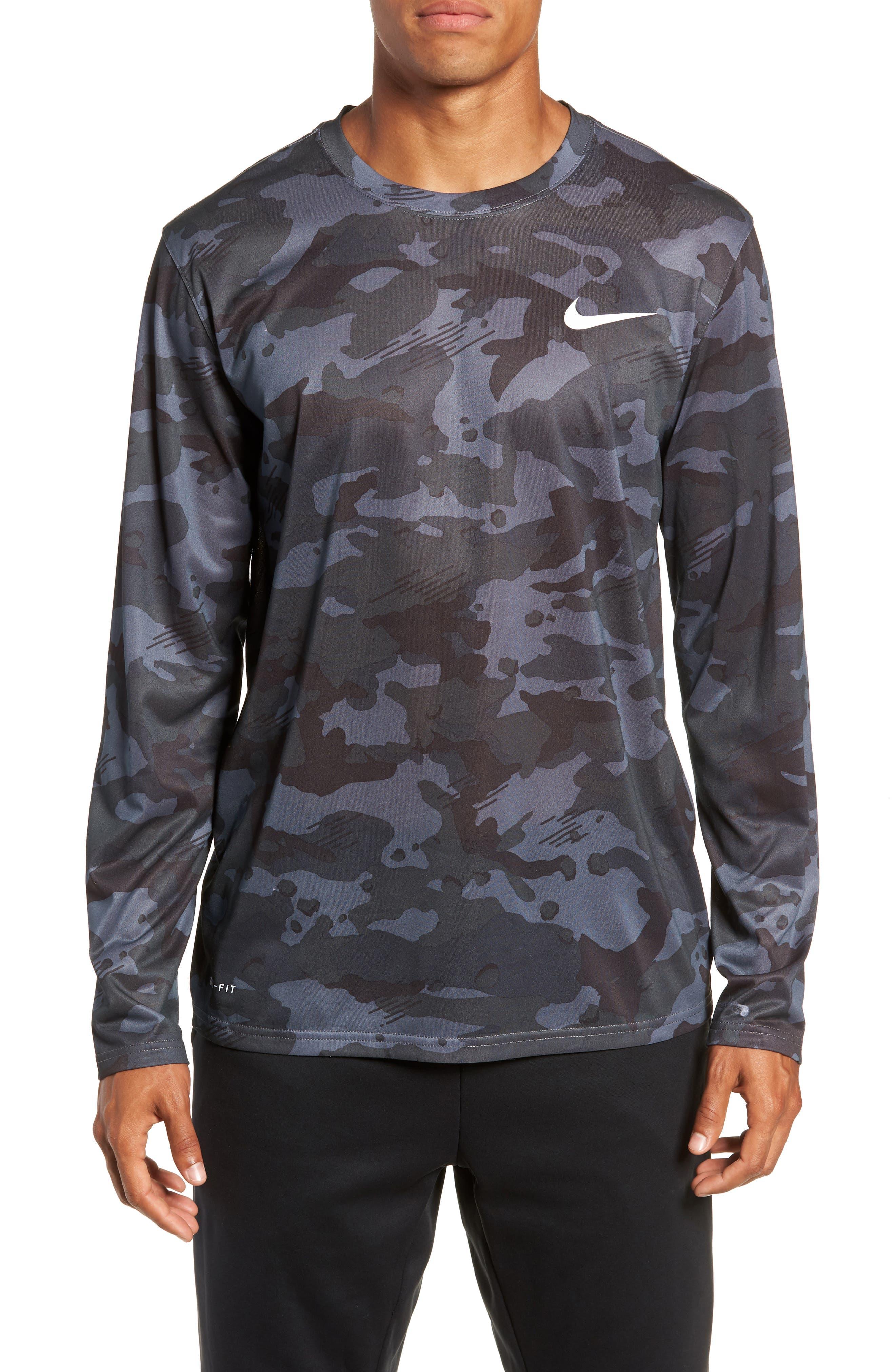 Nike Dry Long Sleeve Camo T-Shirt Grey