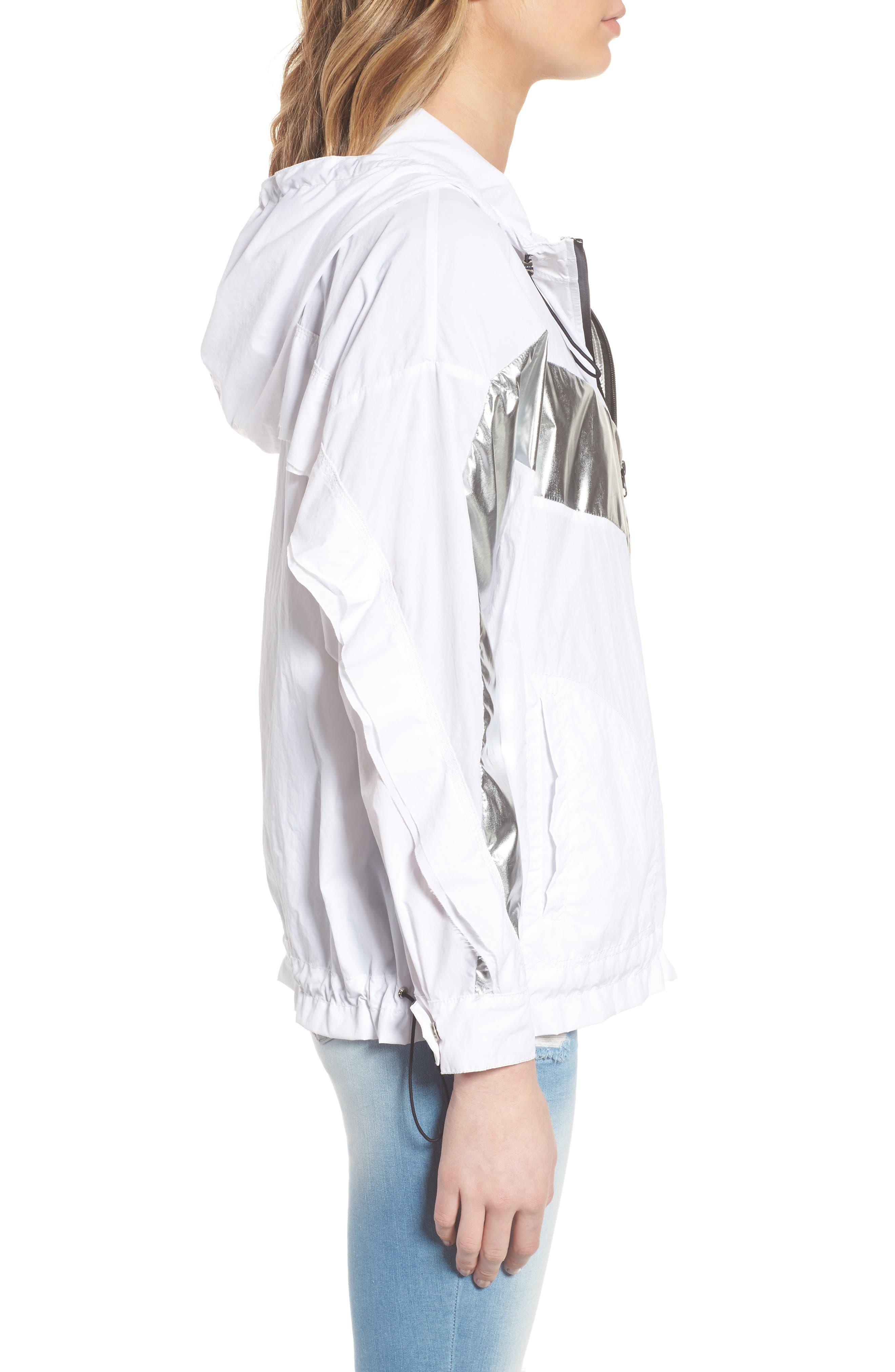 Metallic Stripe Windbreaker Jacket,                             Alternate thumbnail 3, color,