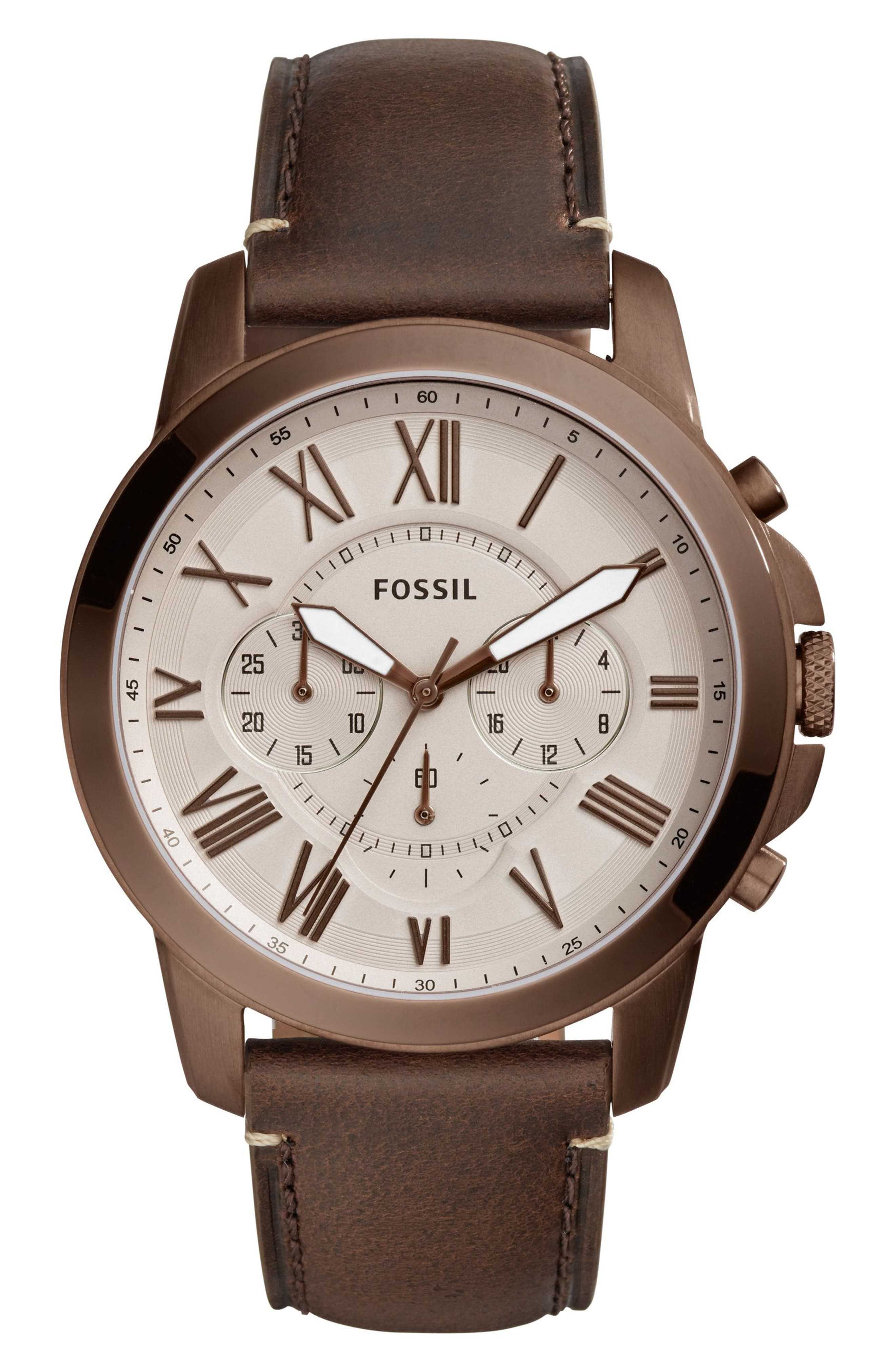 'Grant' Round Chronograph Leather Strap Watch, 44mm,                             Main thumbnail 3, color,
