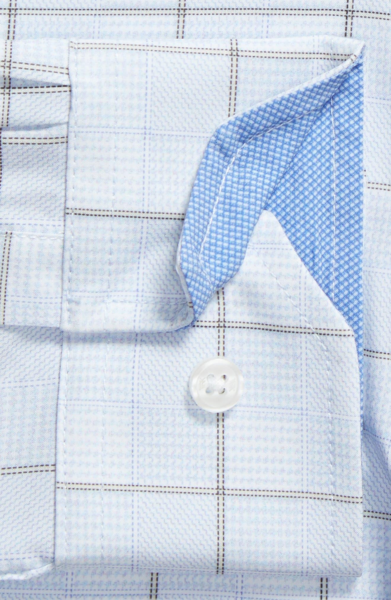 Trim Fit Plaid 4-Way Stretch Dress Shirt,                             Alternate thumbnail 6, color,                             BLUE