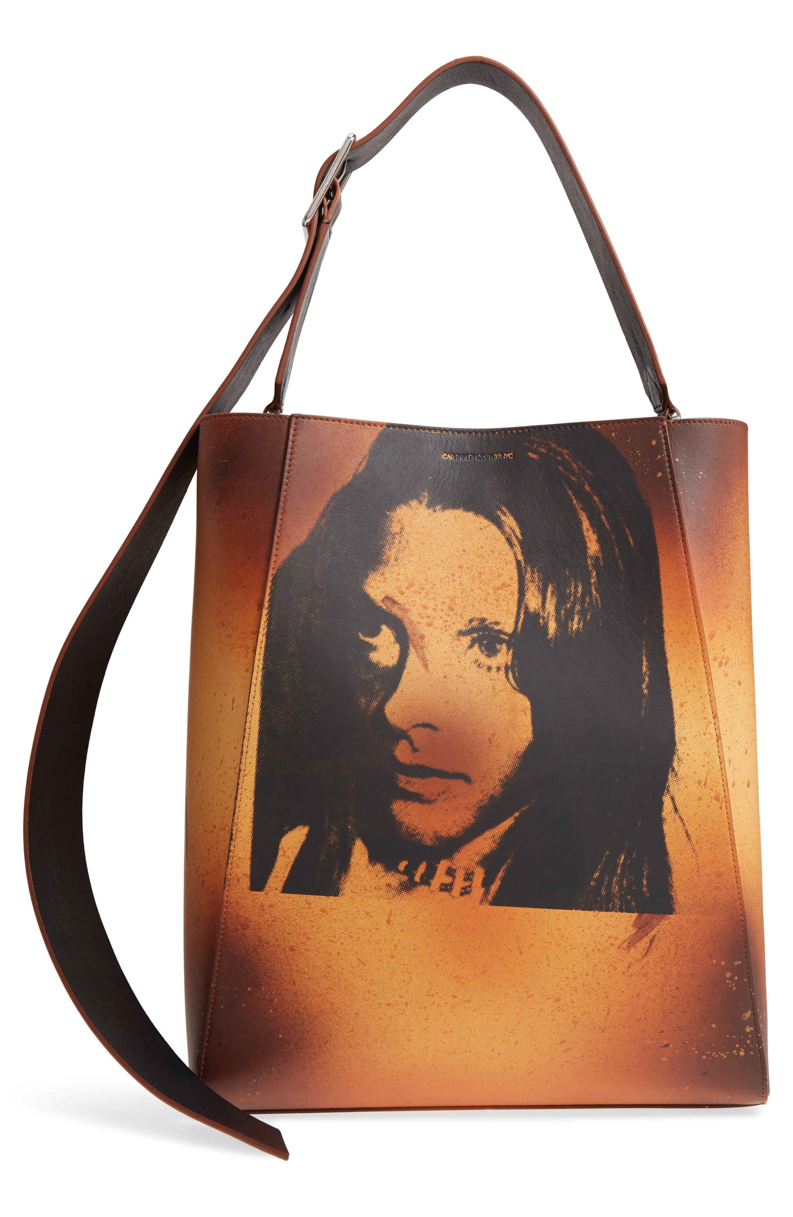 x Andy Warhol Foundation Sandra Brant Calfskin Leather Bucket Bag,                             Main thumbnail 1, color,                             AMBER/ BLACK