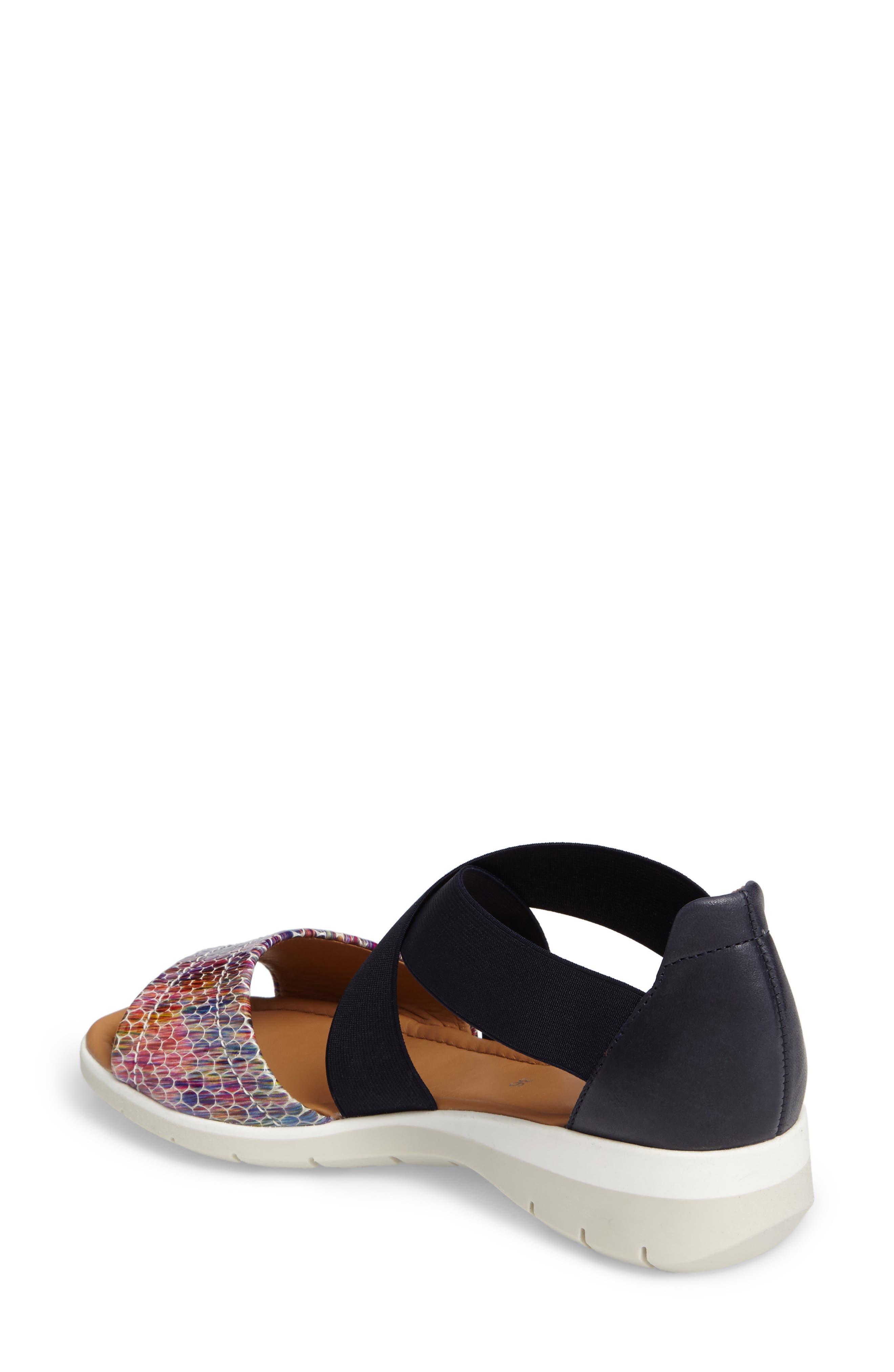 Larissa Cross Strap Wedge Sandal,                             Alternate thumbnail 2, color,                             BLACK MULTI LEATHER