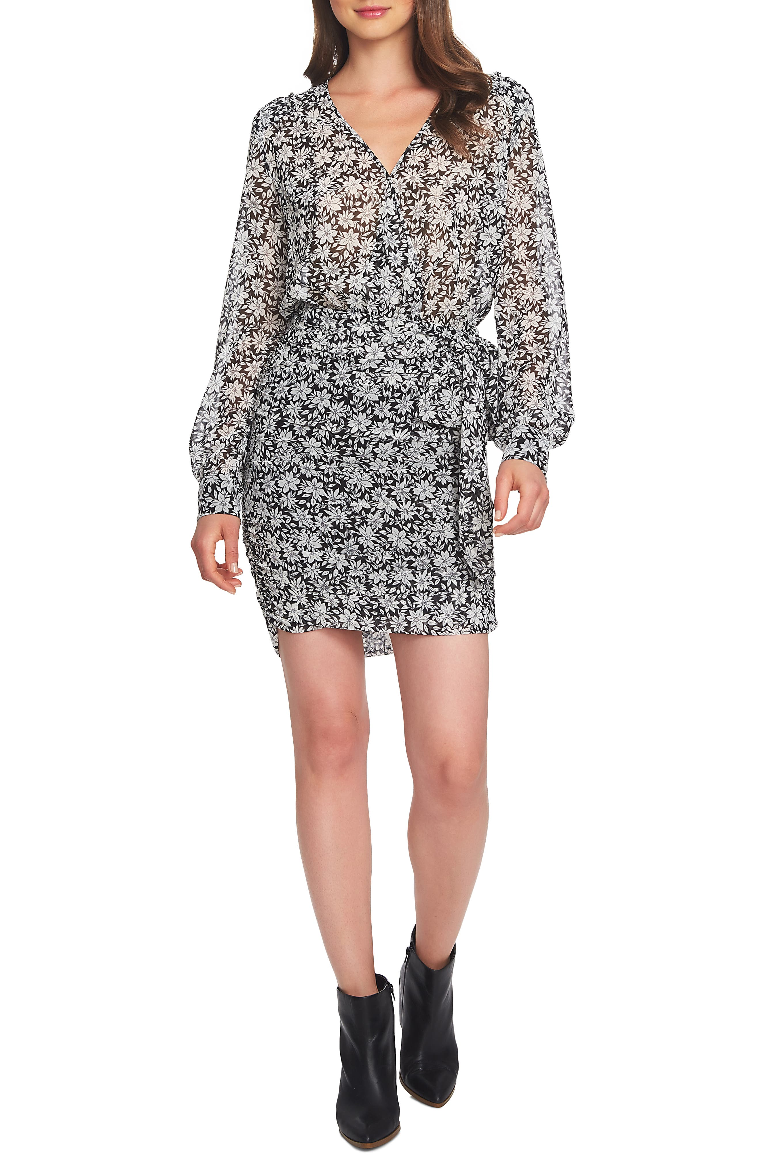 Wild Blooms Wrap Front Minidress,                         Main,                         color, 184