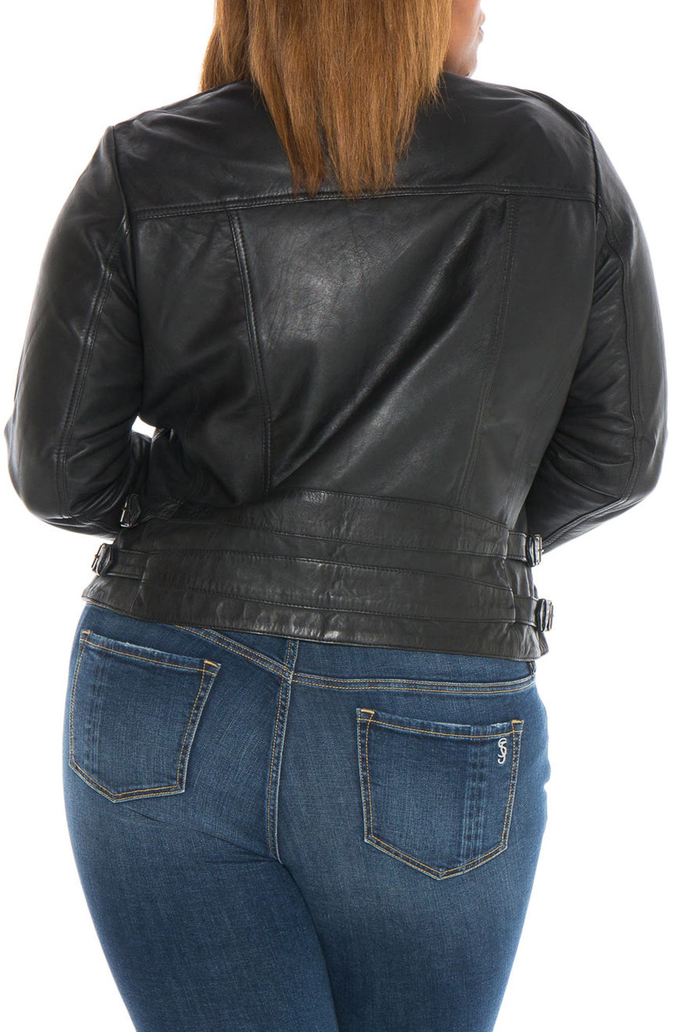 Fitted Leather Moto Jacket,                             Alternate thumbnail 3, color,                             BLACK