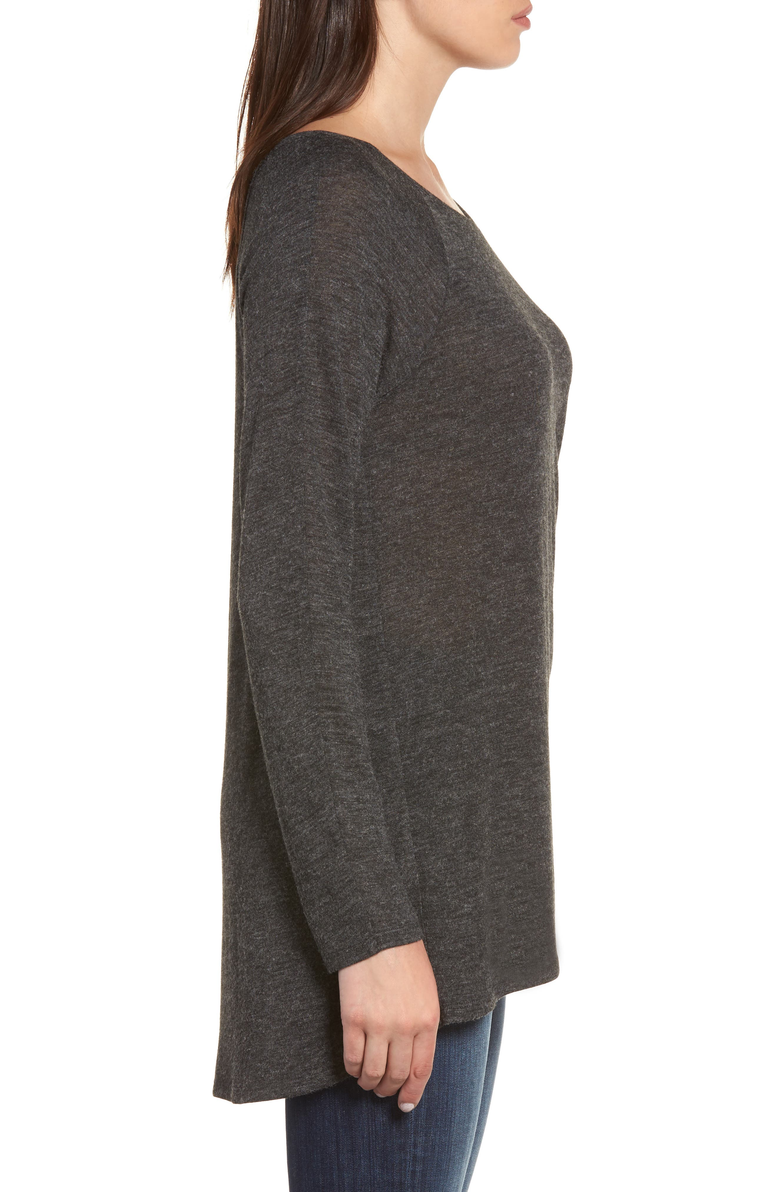 High/Low Tunic Sweatshirt,                             Alternate thumbnail 3, color,                             001