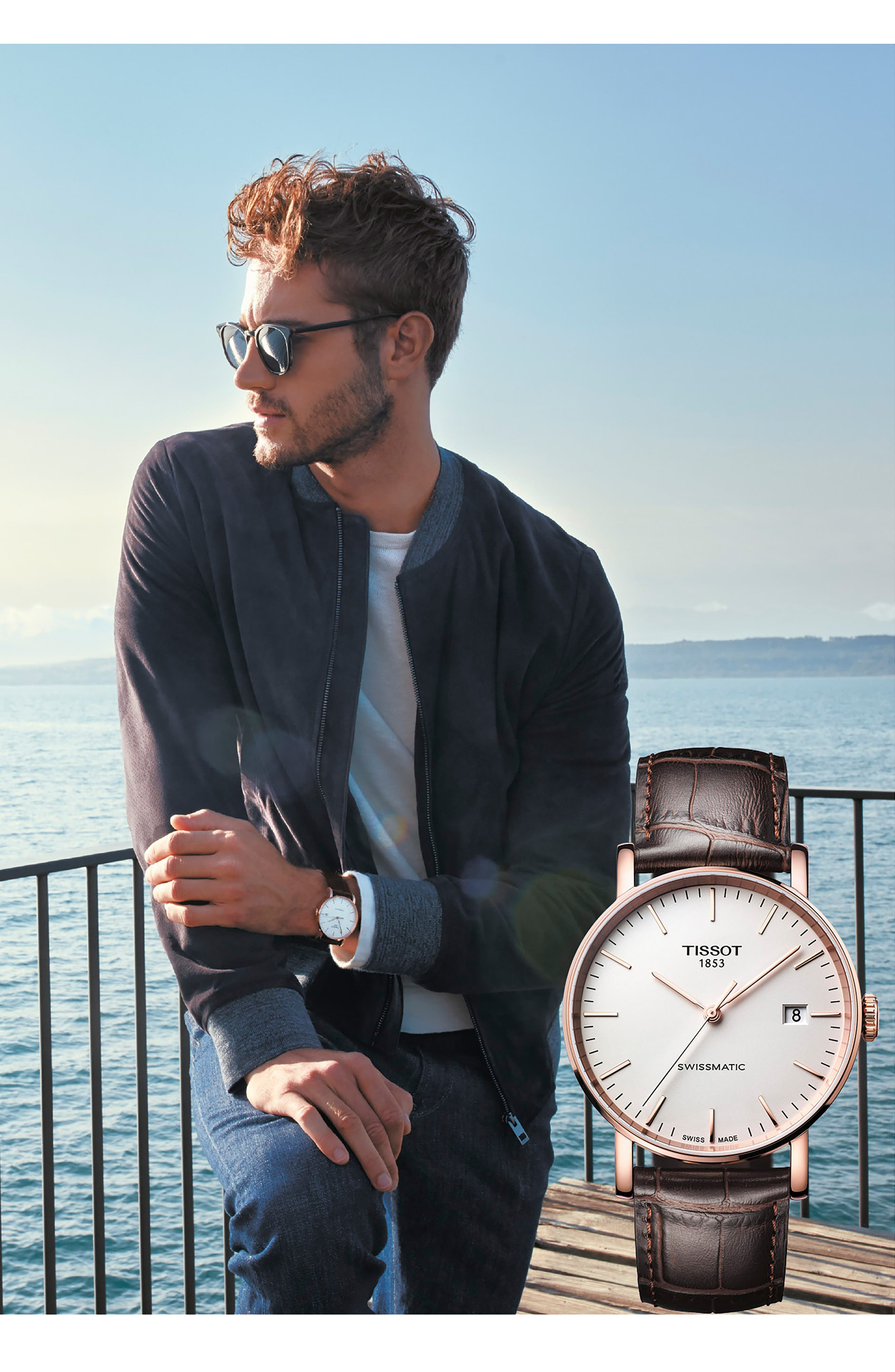 Everytime Swissmatic Leather Strap Watch, 40mm,                             Alternate thumbnail 3, color,                             BROWN/ WHITE/ ROSE GOLD
