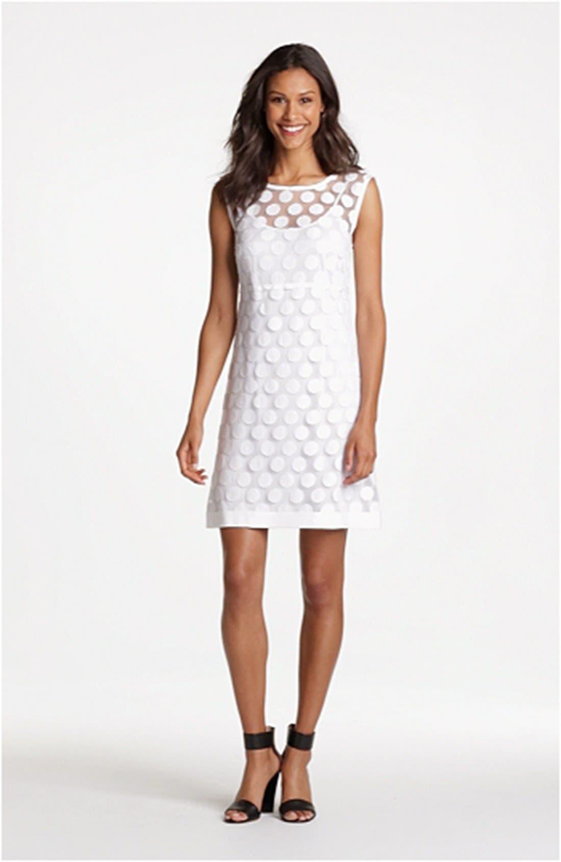 Polka Dot Lace A-Line Dress,                             Alternate thumbnail 4, color,                             140