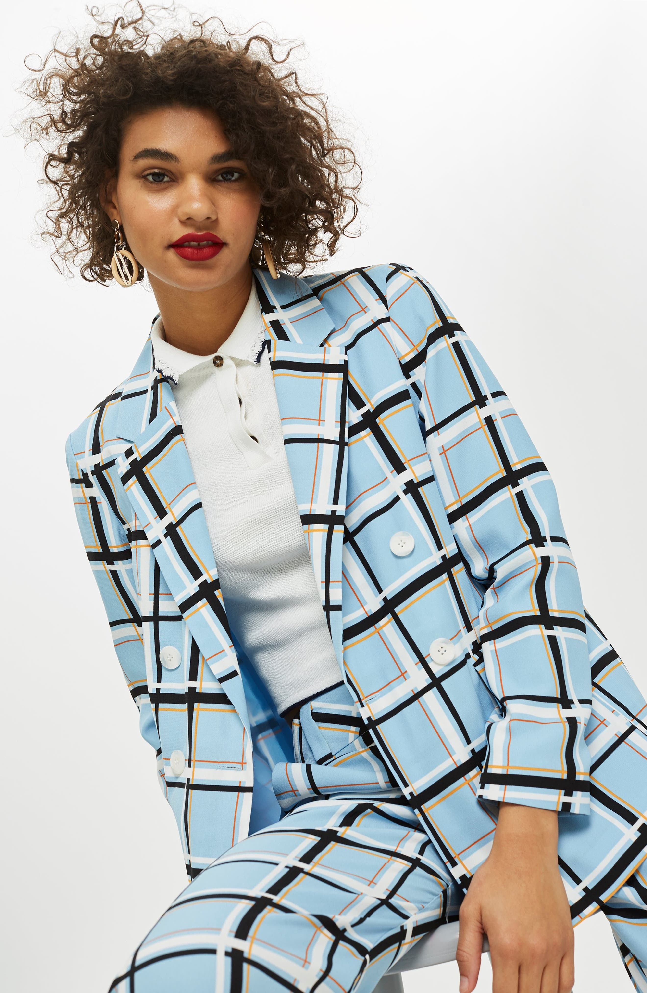 Check Double Breasted Jacket,                             Alternate thumbnail 2, color,                             LIGHT BLUE MULTI