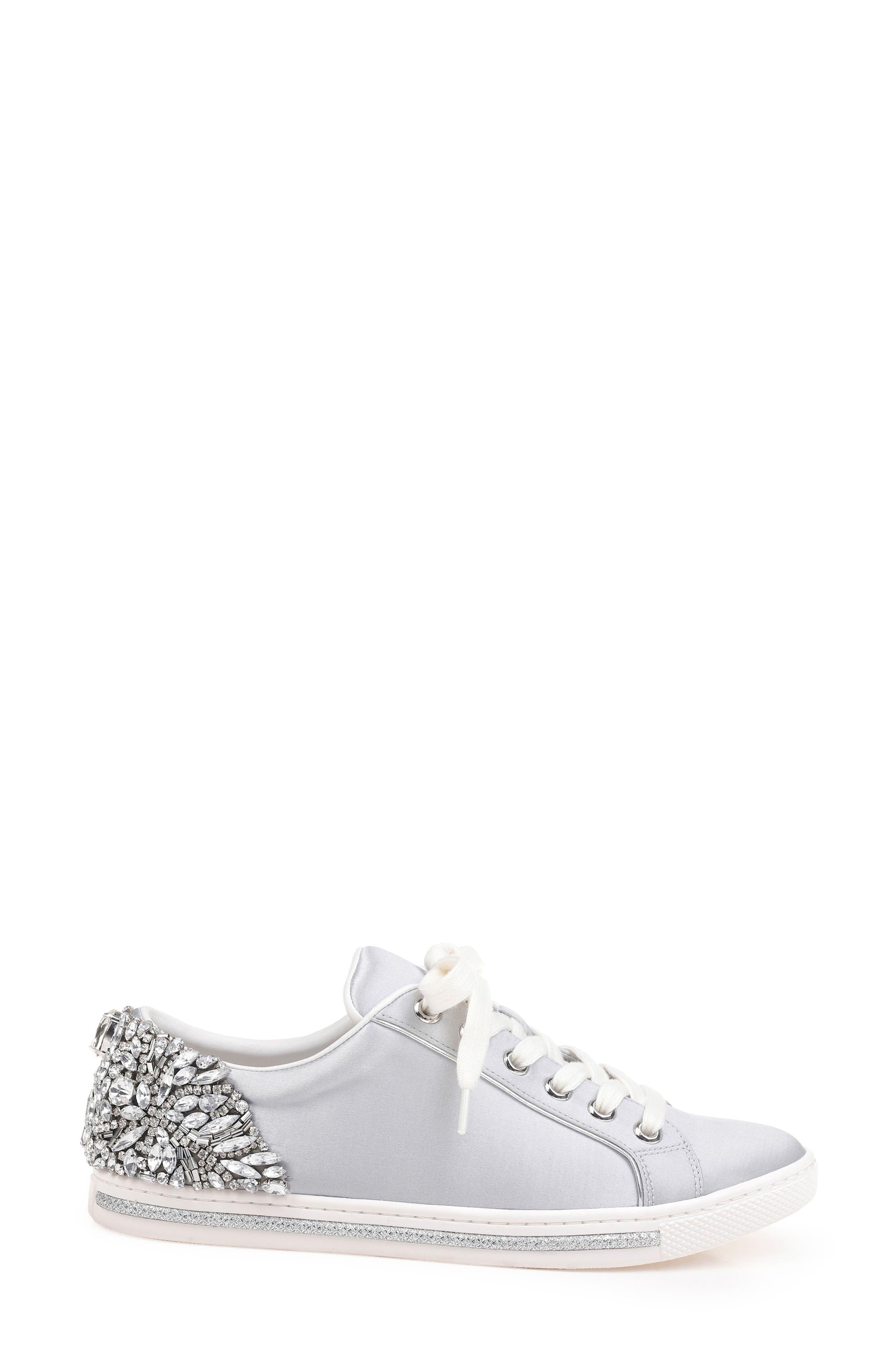 Badgley Mischka Shirley Crystal Embellished Sneaker,                             Alternate thumbnail 3, color,                             045