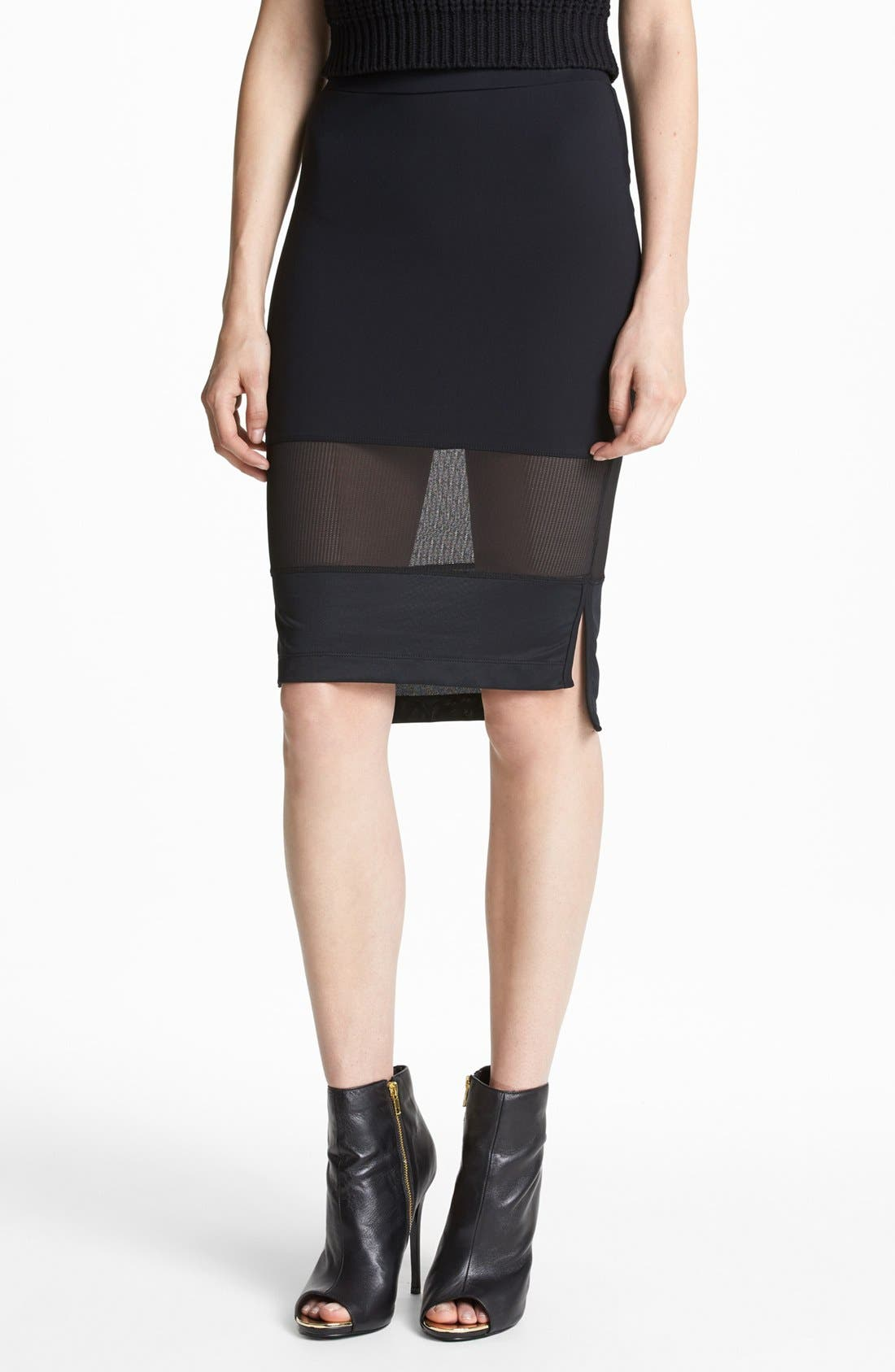 Mesh Mix Pencil Skirt,                             Main thumbnail 1, color,