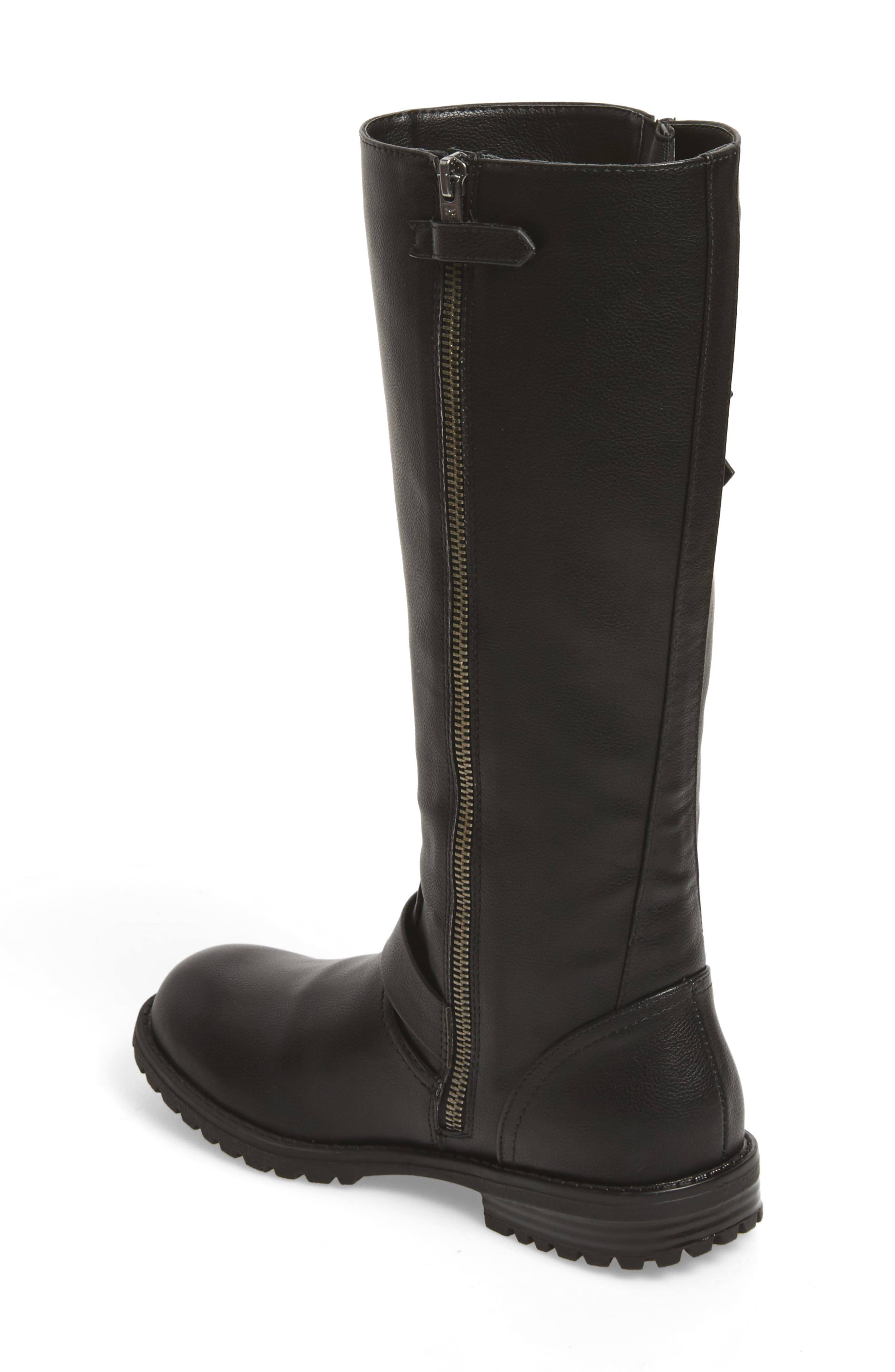 Veronica Tall Buckle Strap Boot,                             Alternate thumbnail 2, color,                             BLACK