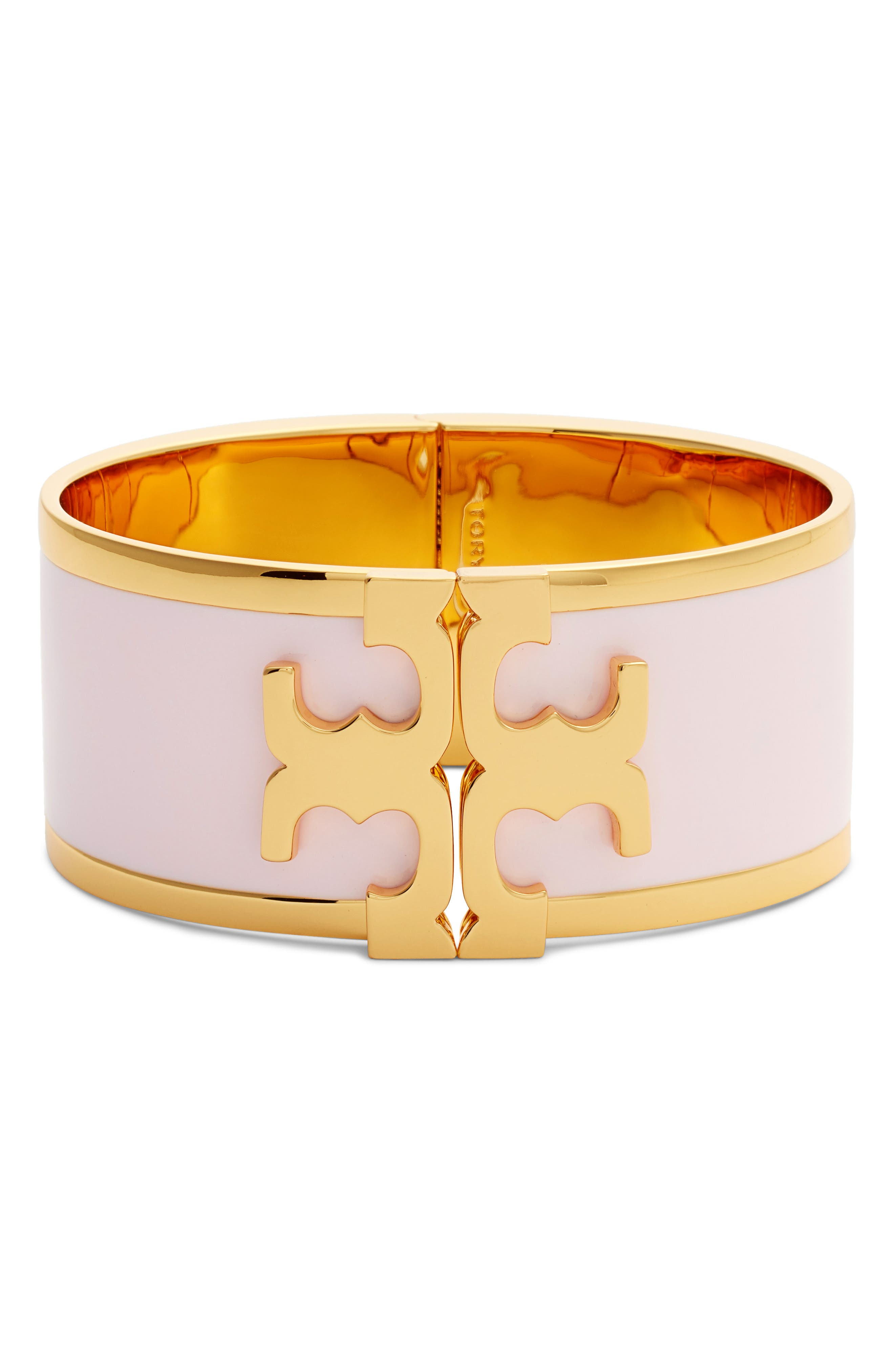 Enamel Logo Bracelet,                             Main thumbnail 1, color,                             LOTUS PINK/ TORY GOLD