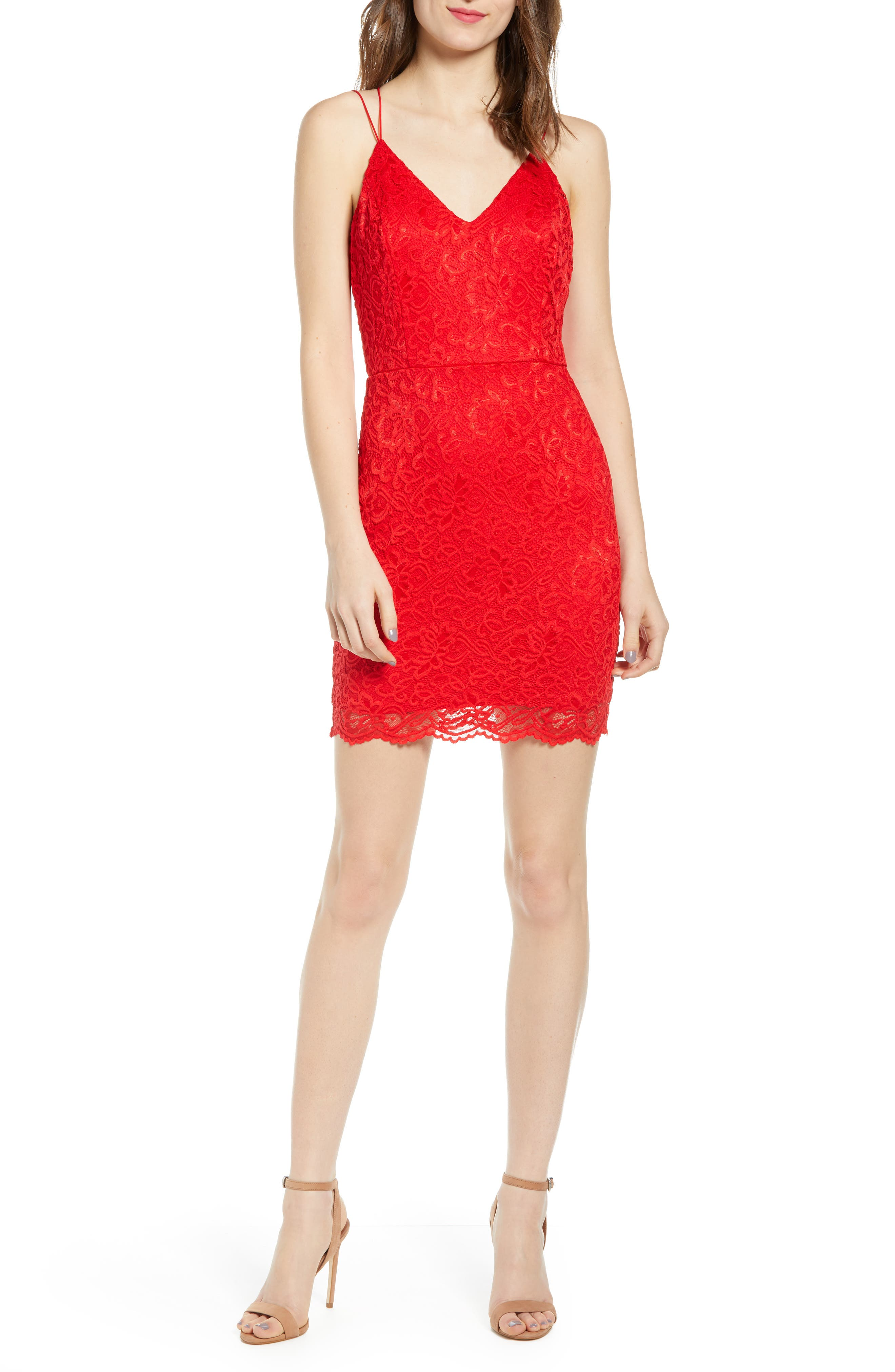 Leith Lace Minidress, Red