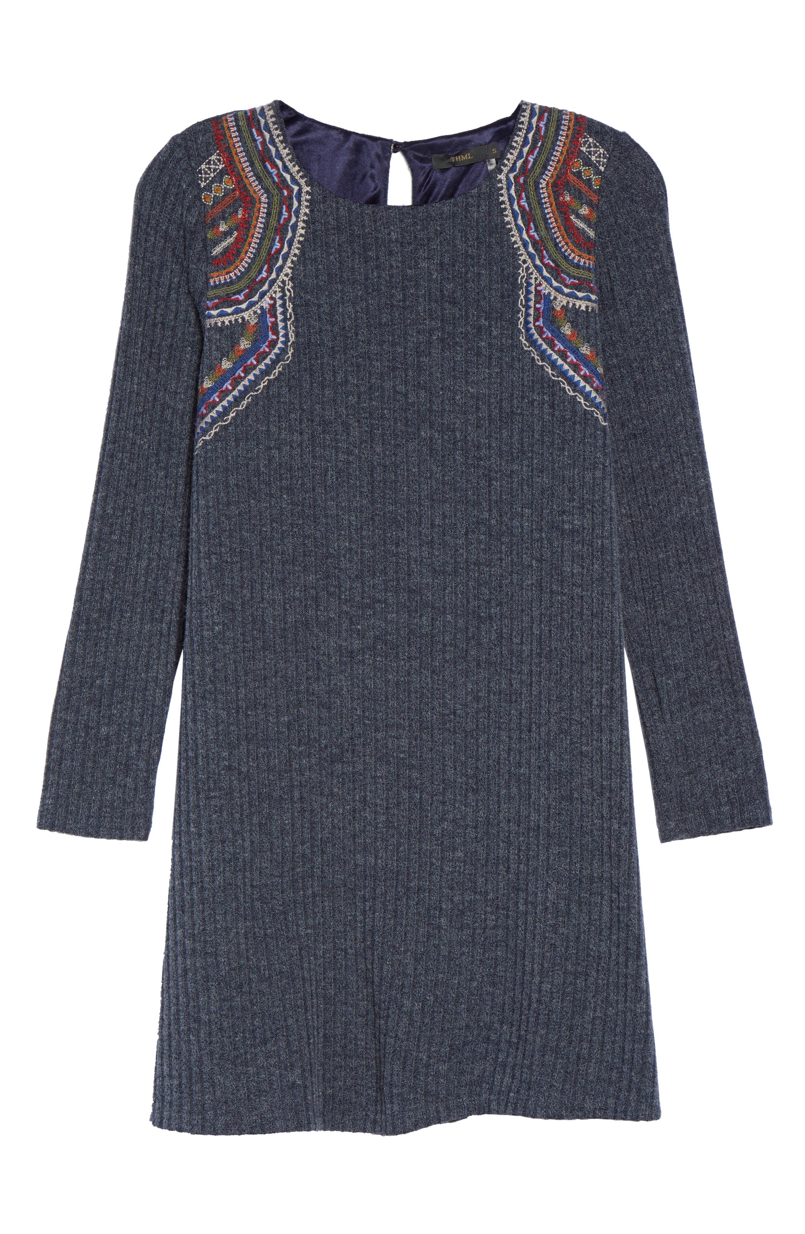 Knit Shift Dress,                             Alternate thumbnail 6, color,                             410