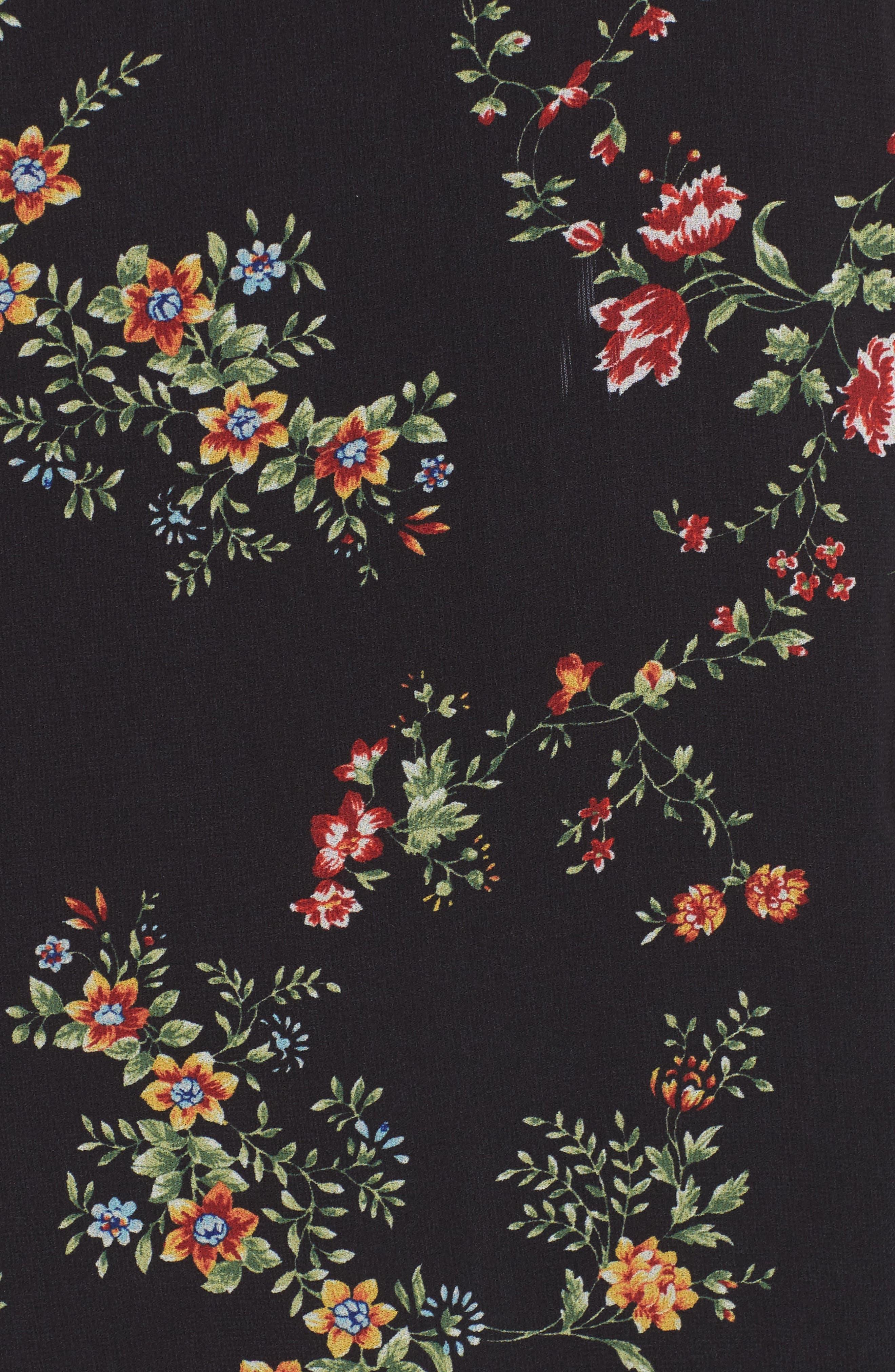 Daisy Wrap Midi Dress,                             Alternate thumbnail 5, color,                             001