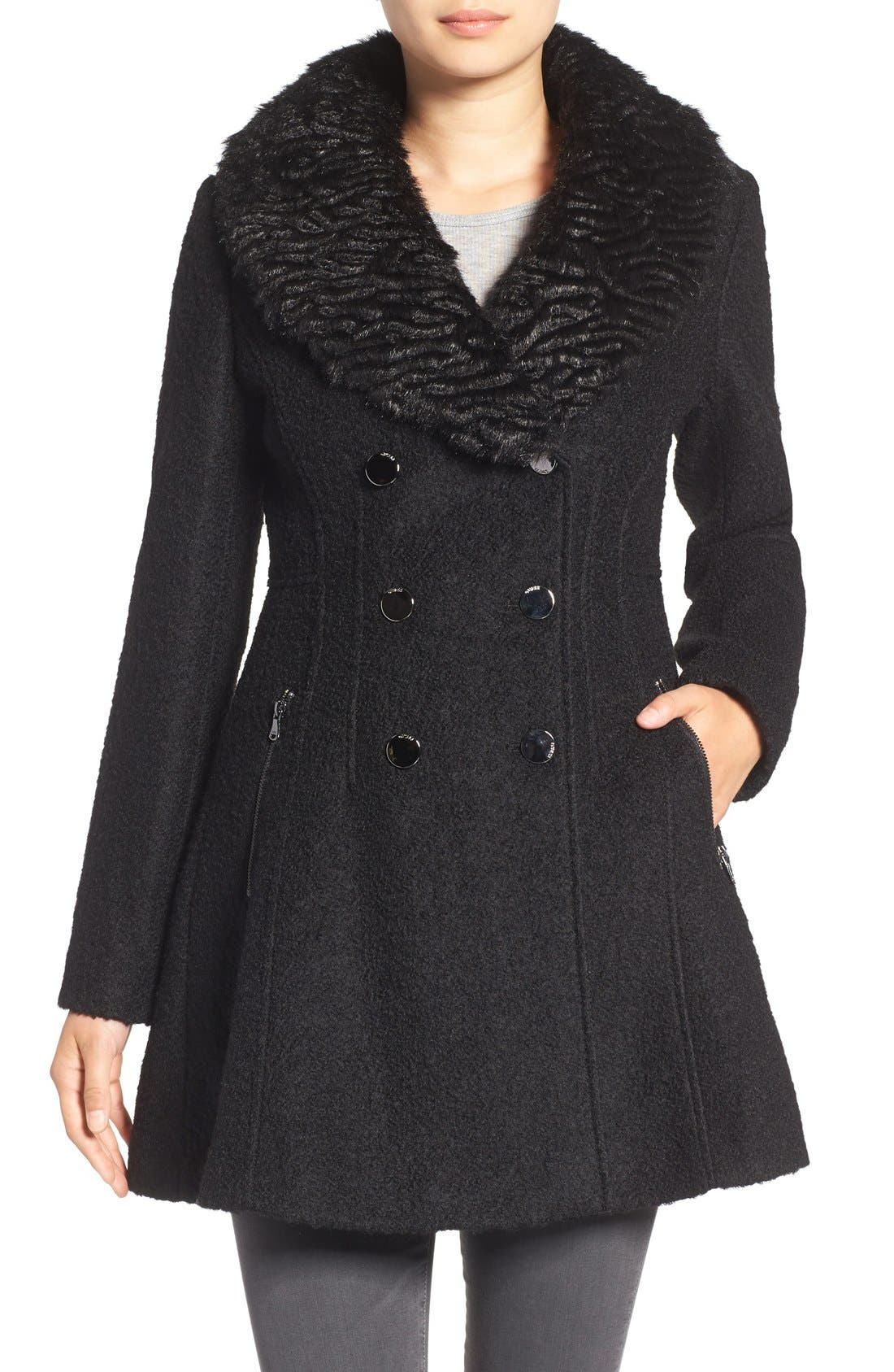 Bouclé Fit & Flare Coat with Faux Fur Collar,                         Main,                         color, 001