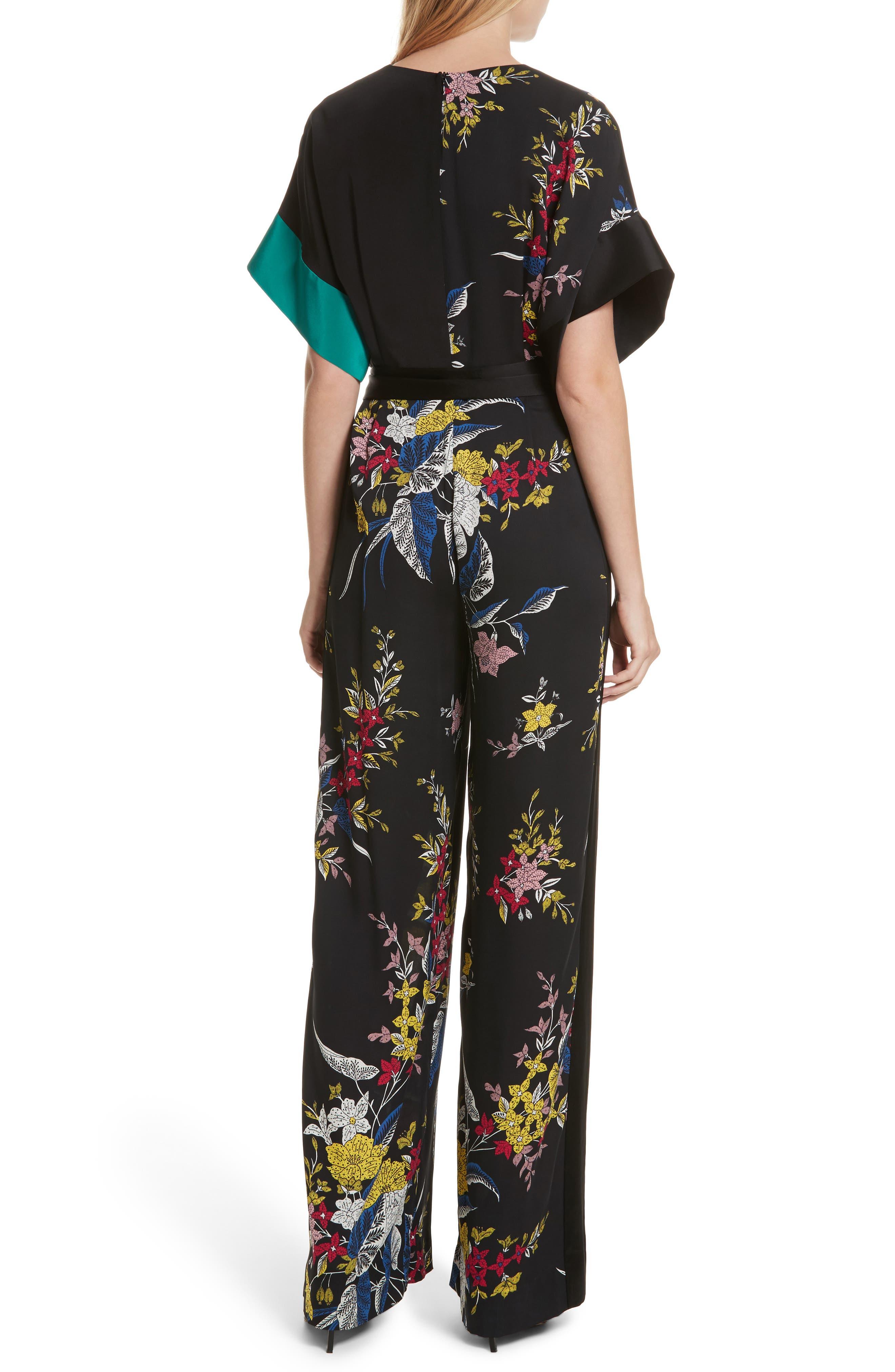 Diane von Furstenberg Faux Wrap Colorblock Silk Jumpsuit,                             Alternate thumbnail 2, color,